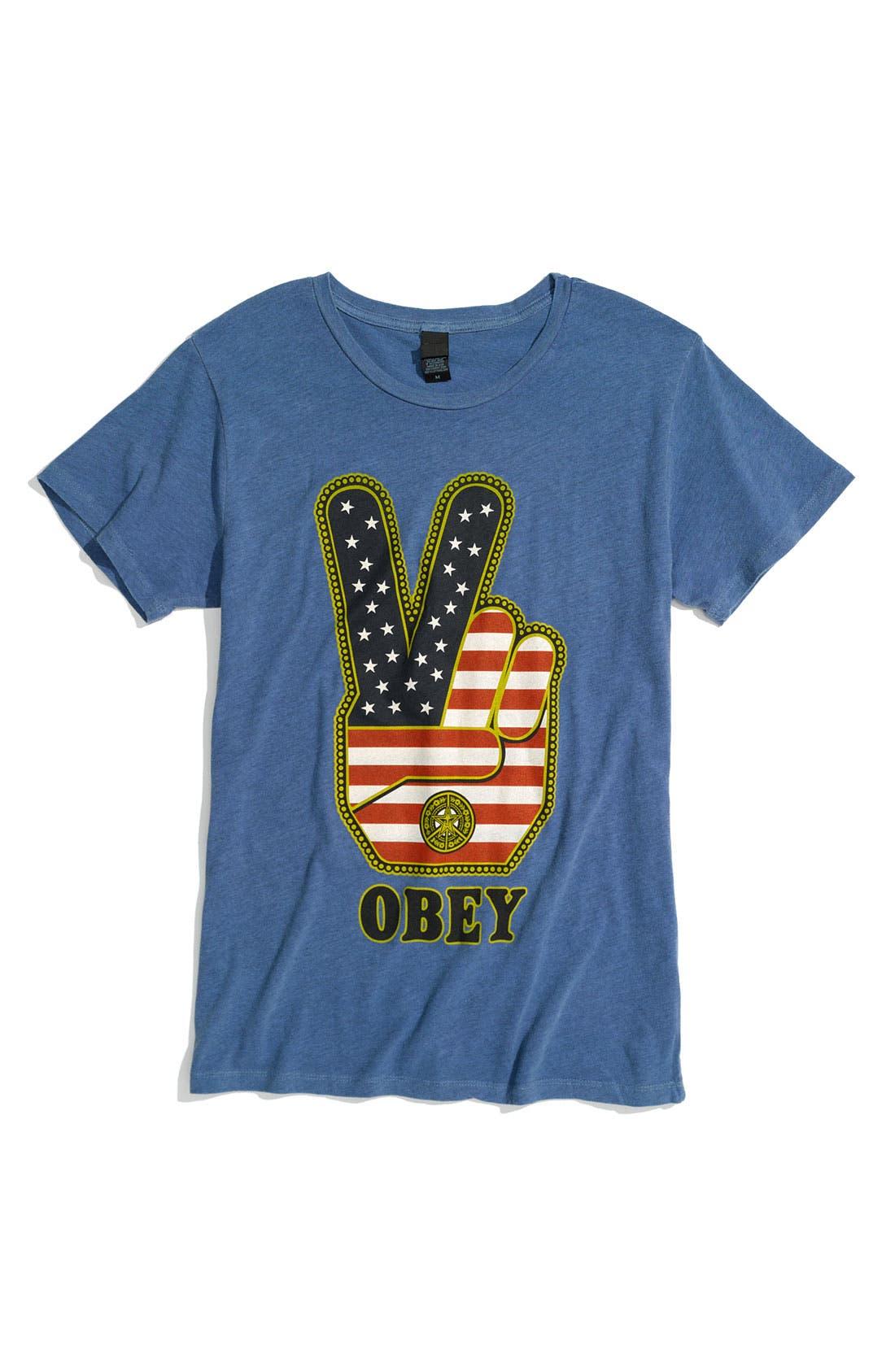 'Peace Fingers USA' Trim Fit Crewneck T-Shirt,                         Main,                         color, Heather Blue