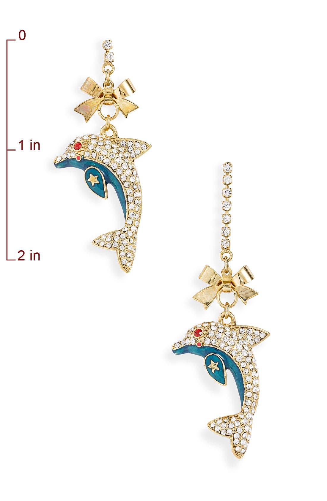 Alternate Image 2  - Betsey Johnson 'Mermaid's Tale' Dolphin Drop Earrings