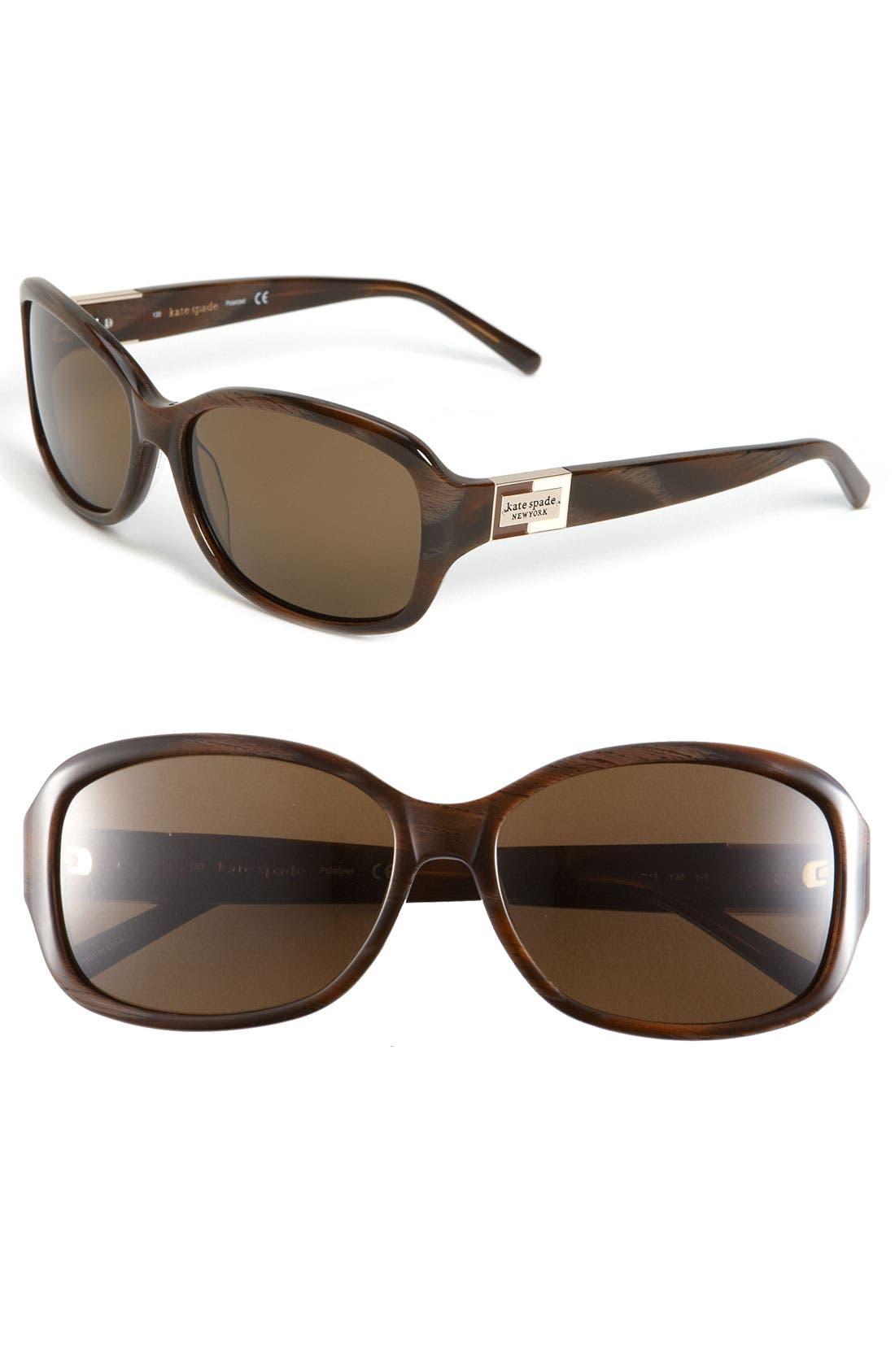 Main Image - kate spade new york 'annika' 56mm polarized rectangular sunglasses