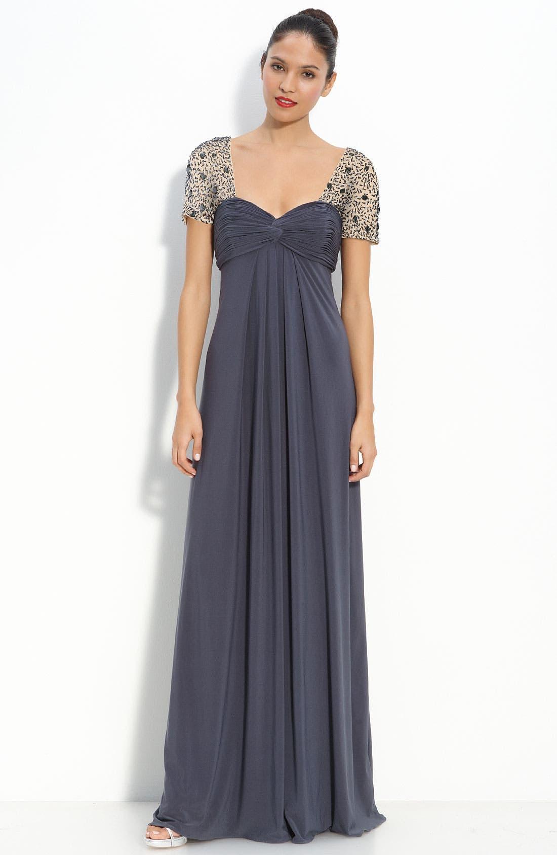 Main Image - JS Boutique Sequin Trim Jersey Gown