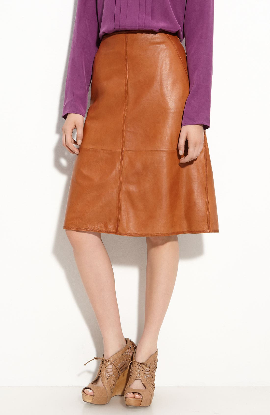 Alternate Image 1 Selected - Leith Leather Midi Skirt