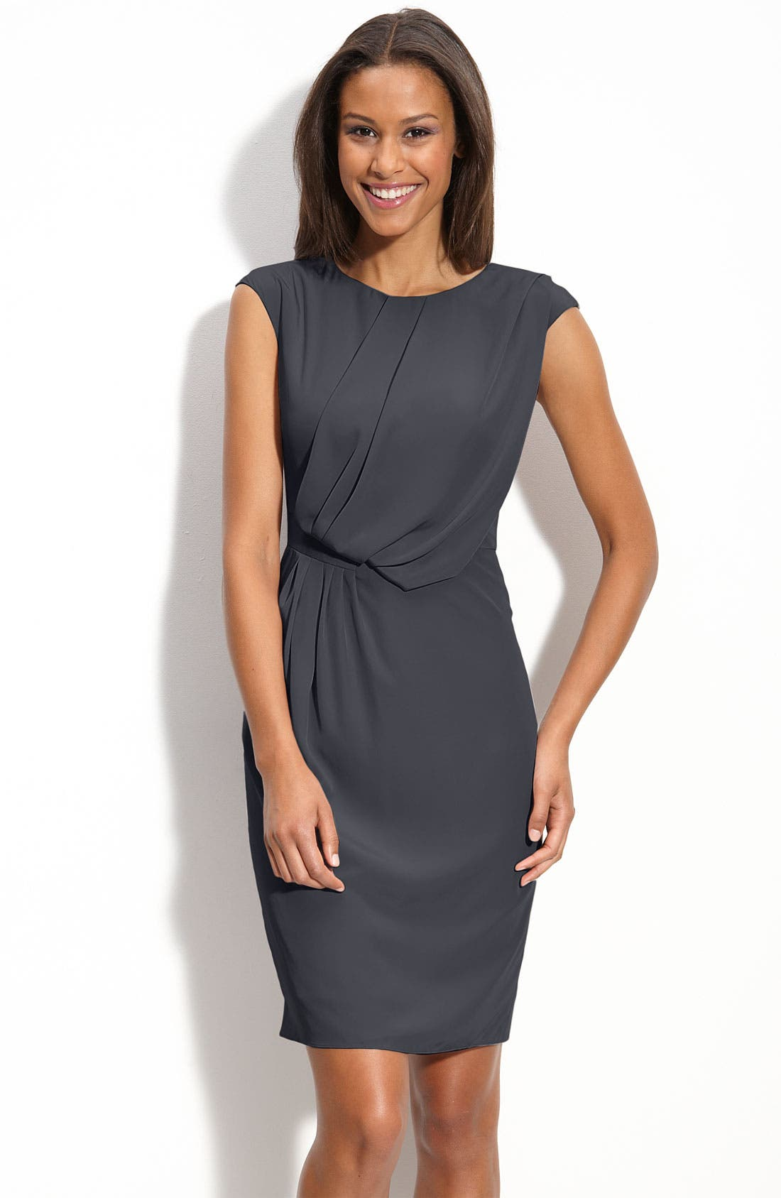Alternate Image 1 Selected - Adrianna Papell Drape Front Woven Dress