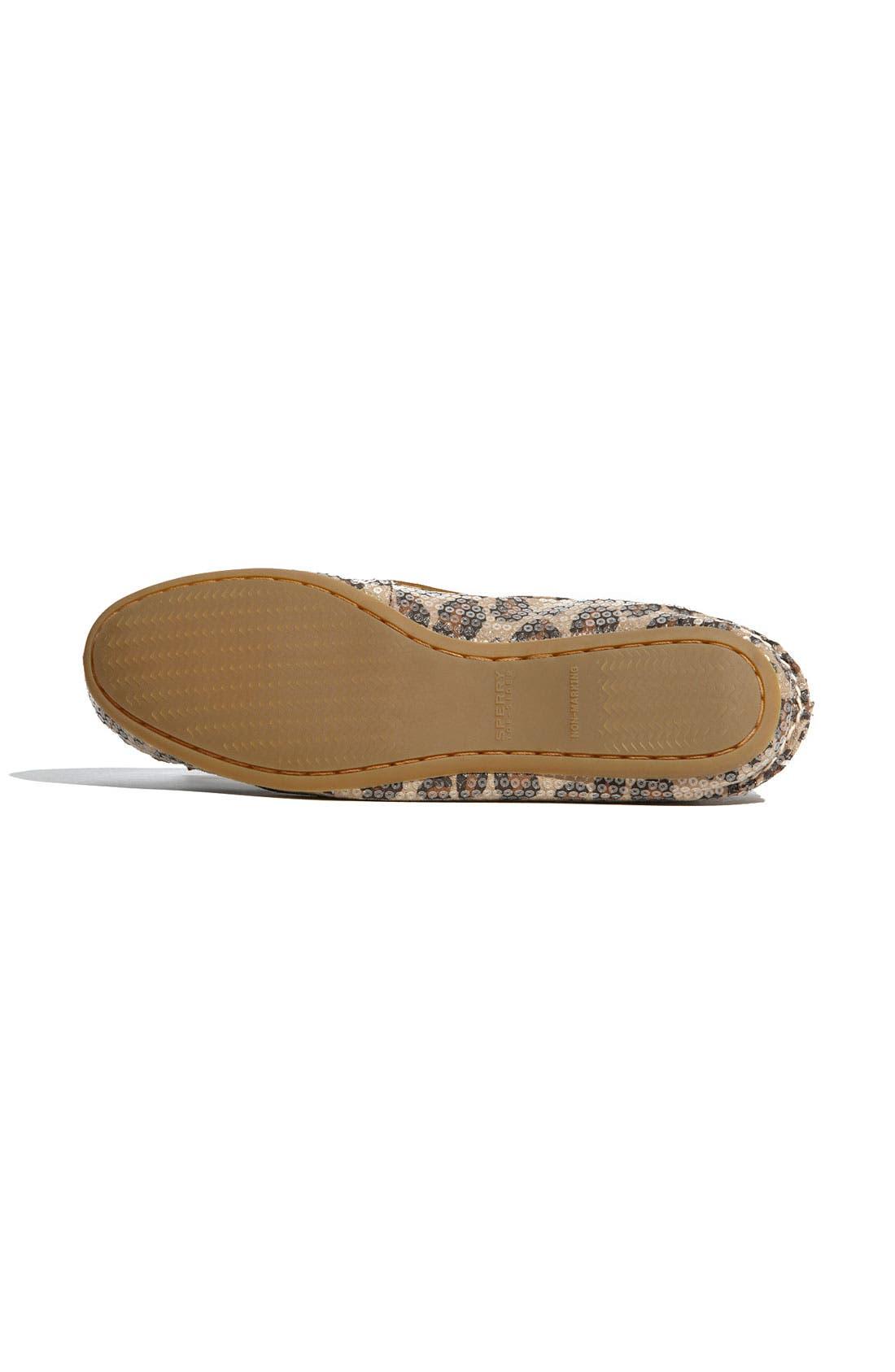 Top-Sider<sup>®</sup> 'Skiff' Moccasin Slip-On,                             Alternate thumbnail 4, color,                             Leopard Sequins