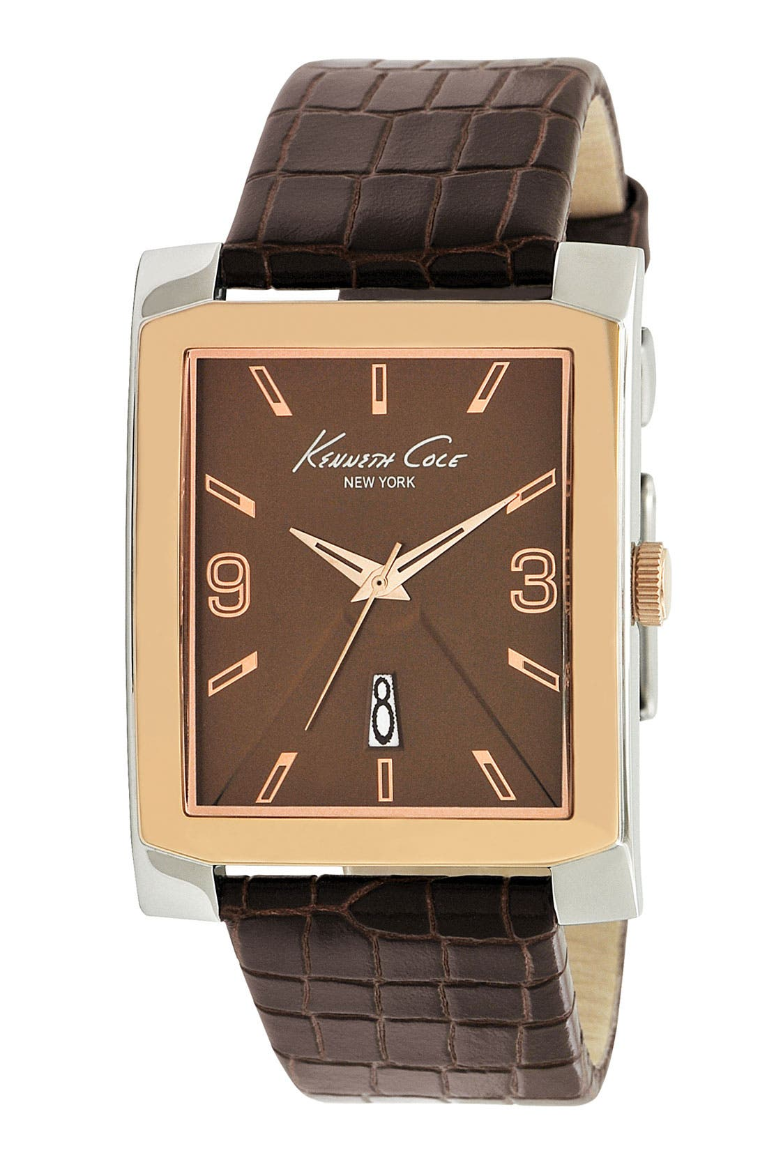 Main Image - Kenneth Cole New York Leather Strap Watch