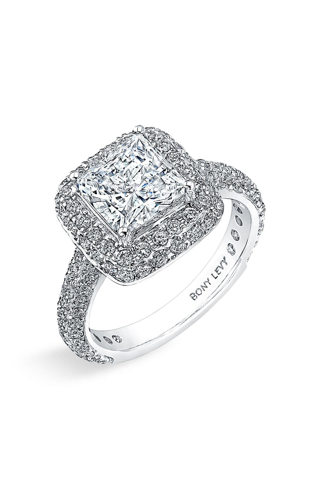 Main Image - Bony Levy Multi-Row Micro Pavé Diamond Engagement Ring Setting (Nordstrom Exclusive)