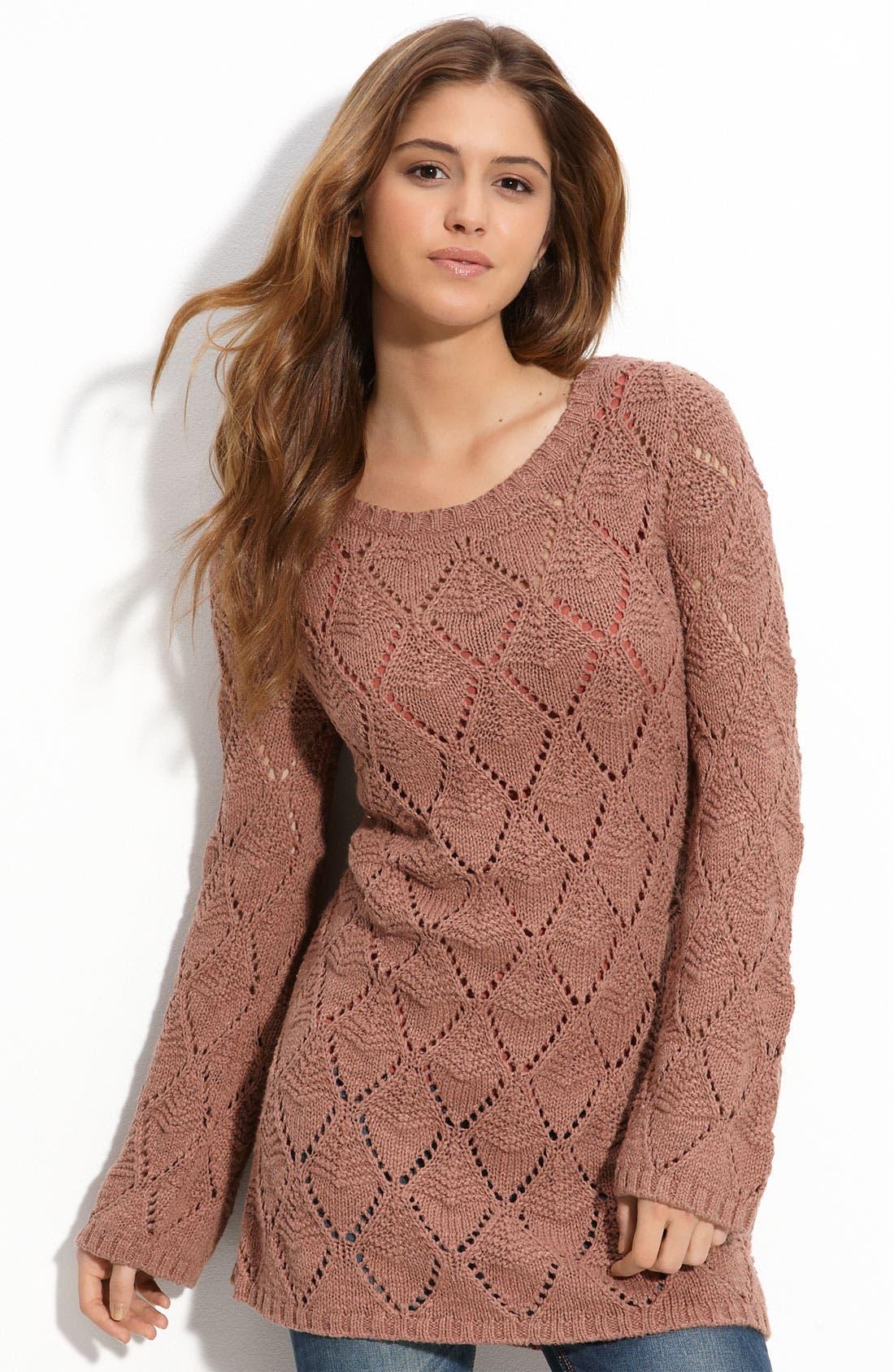 Main Image - Frenchi® Pointelle Tunic Sweater (Juniors)