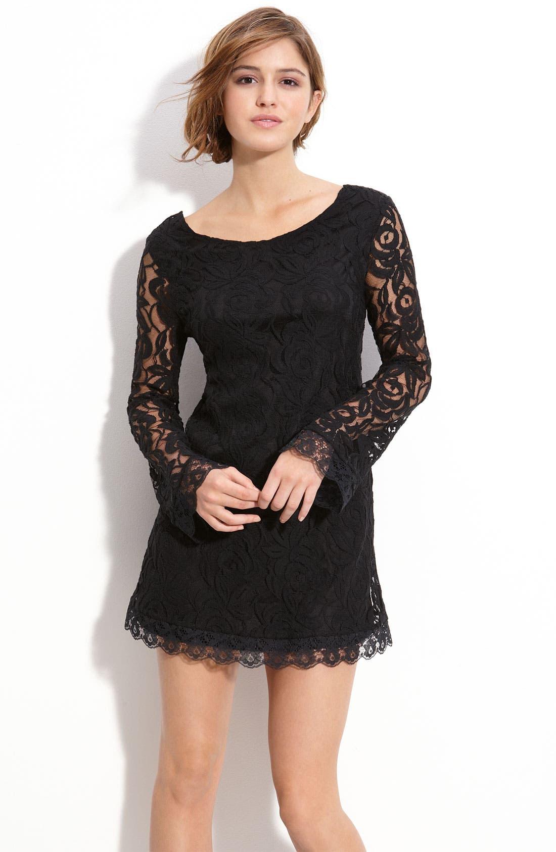 Main Image - Fire Lace Shift Dress (Juniors)