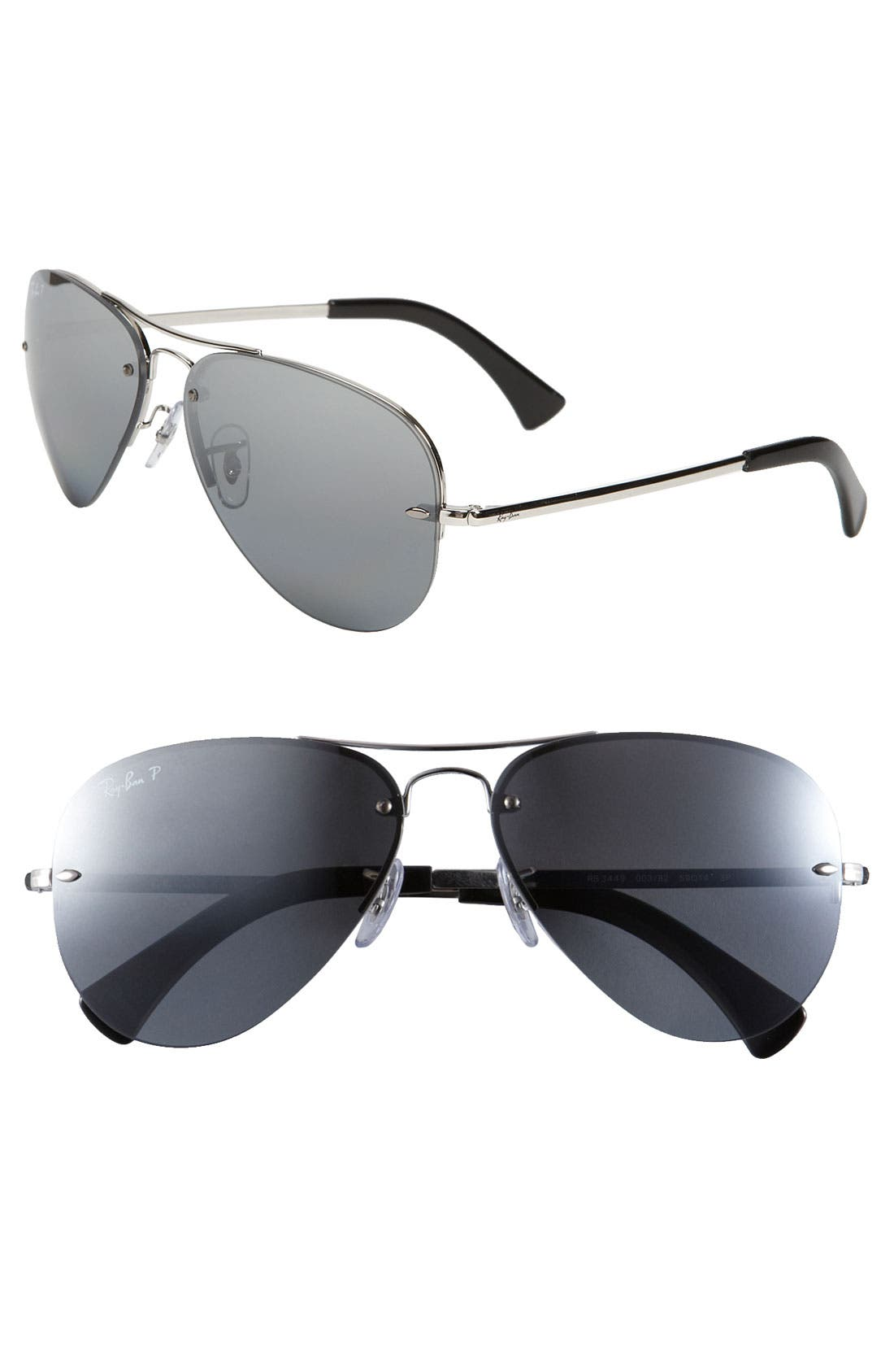 Alternate Image 1 Selected - Ray-Ban 'Rimless Aviator' 59mm Polarized Sunglasses