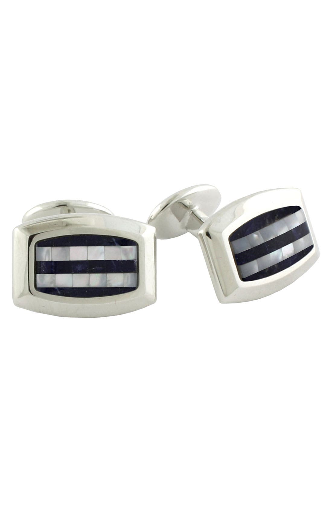 Main Image - David Donahue Stripe Sterling Silver Cuff Links