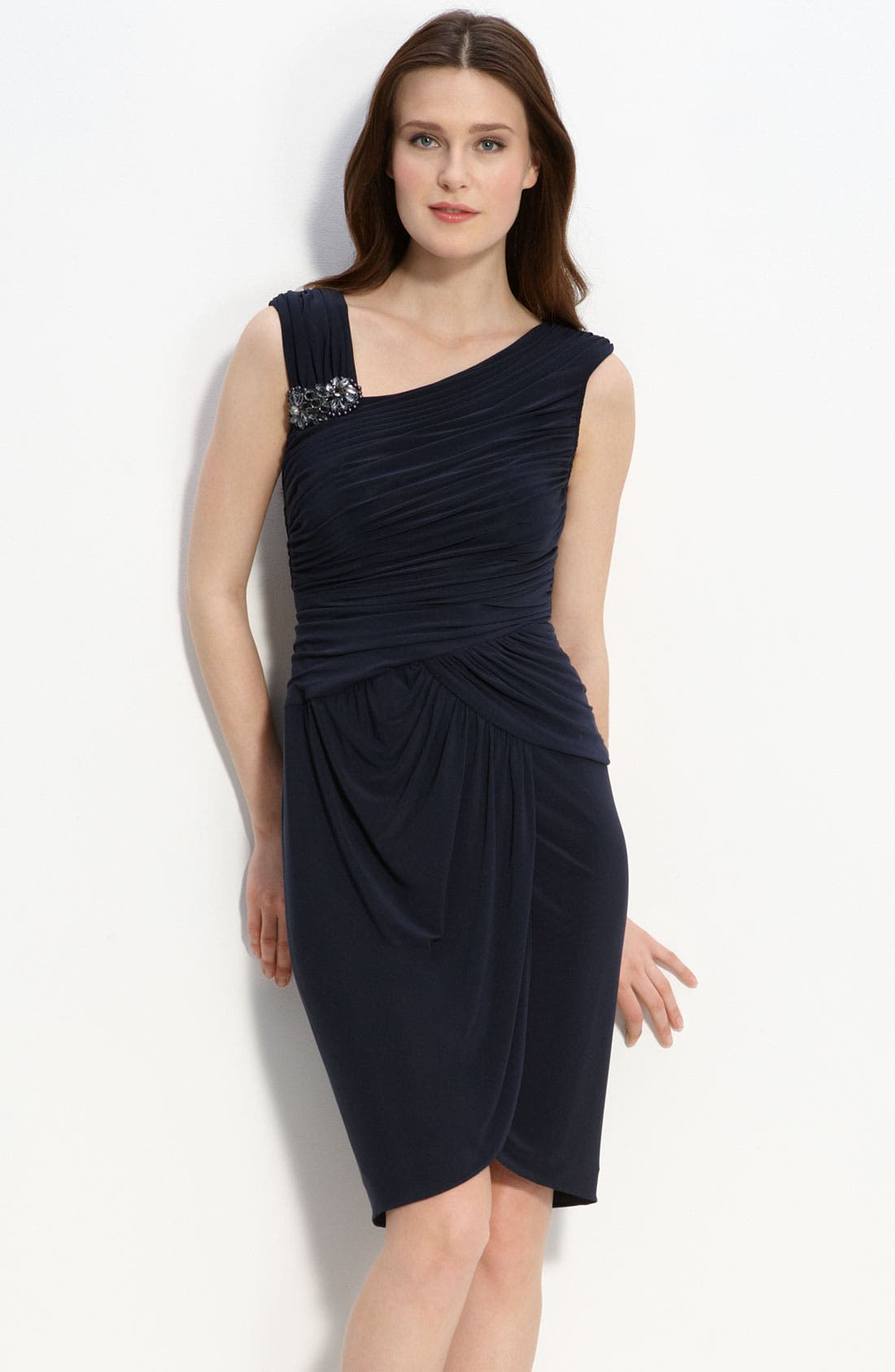 Main Image - Adrianna Papell Crystal Brooch Ruched Jersey Dress