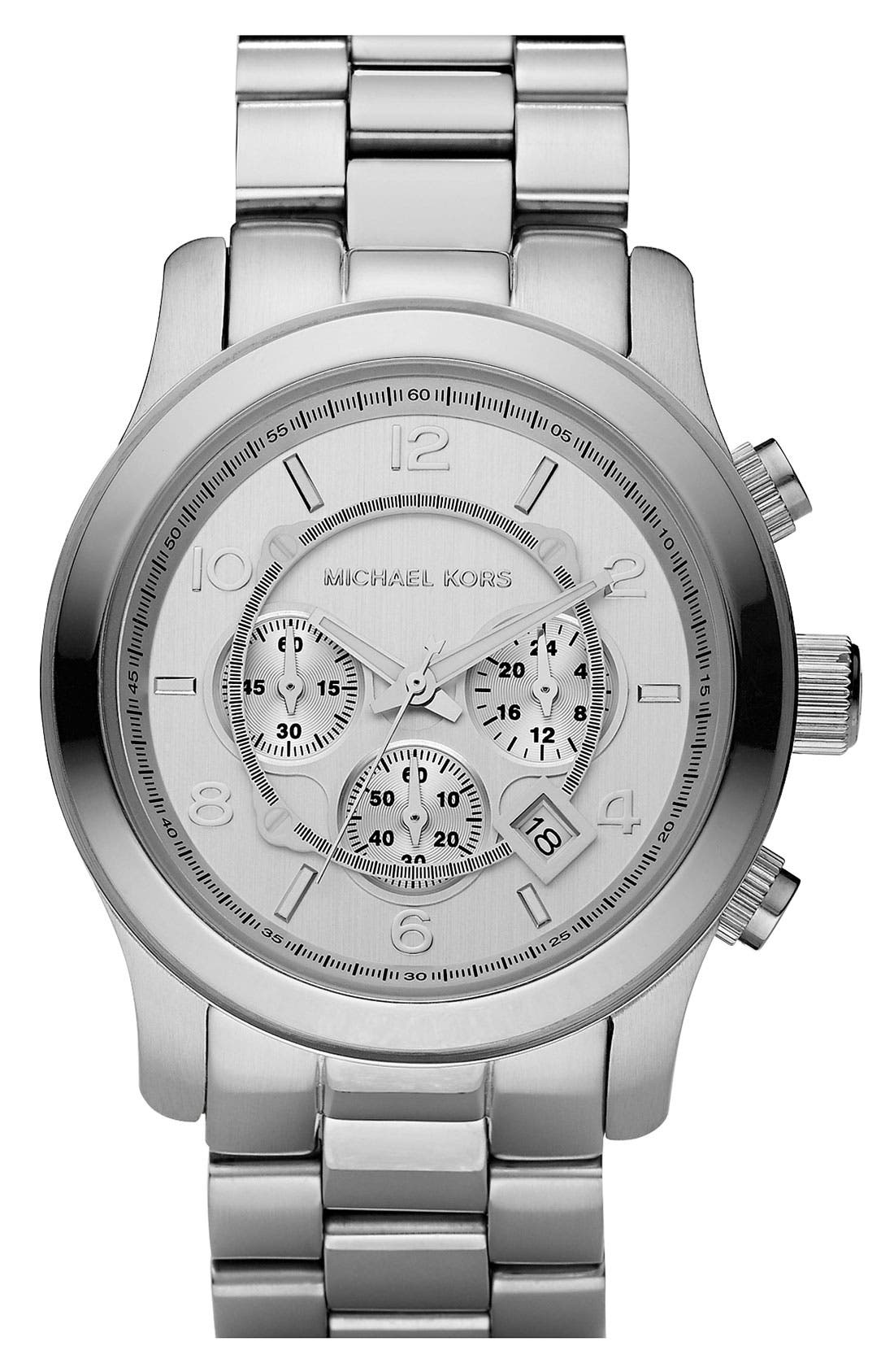 Main Image - Michael Kors 'Silvertone Oversize Iconic' Chronograph Watch, 45mm
