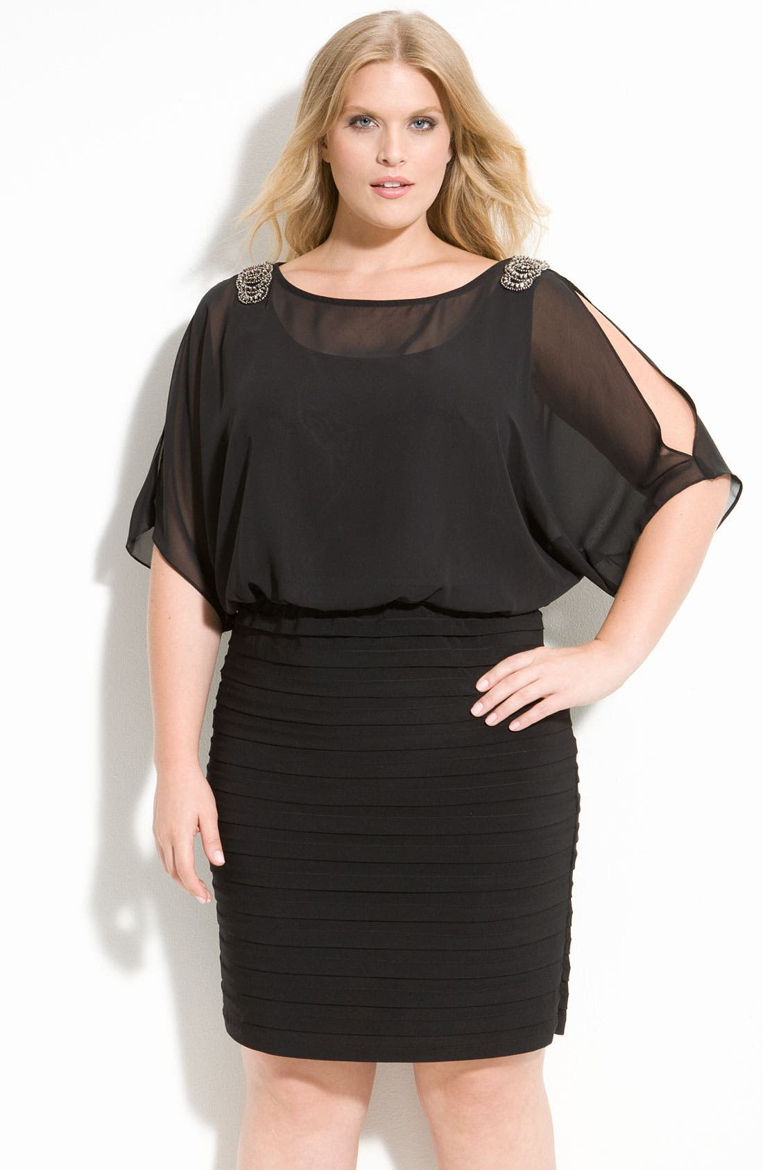 Main Image - Xscape Beaded Cold Shoulder Dress (Plus Size)