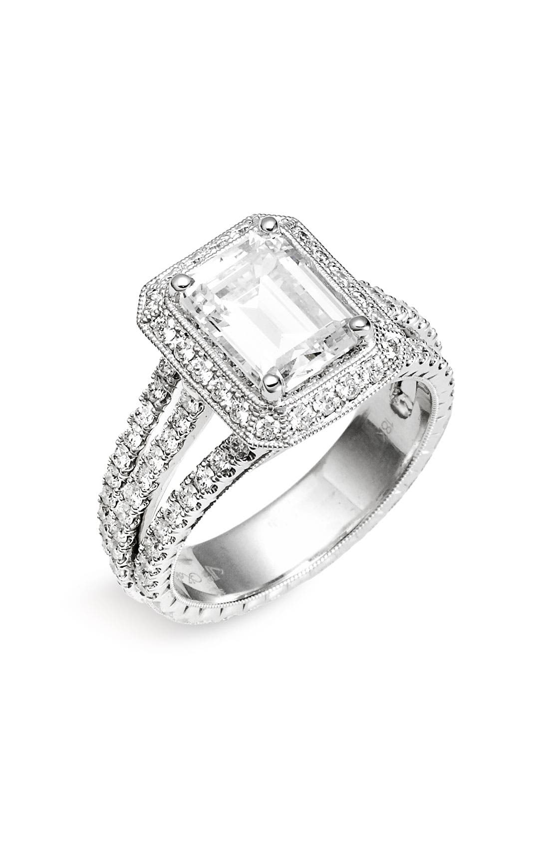 Alternate Image 1 Selected - Jack Kelége 'Romance' Emerald Cut Diamond Engagement Ring Setting