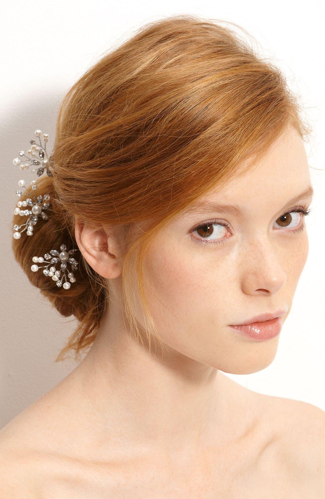 'Mercia' Swarovski Crystal & Freshwater Pearl Hairpins,                             Main thumbnail 1, color,                             Crystal