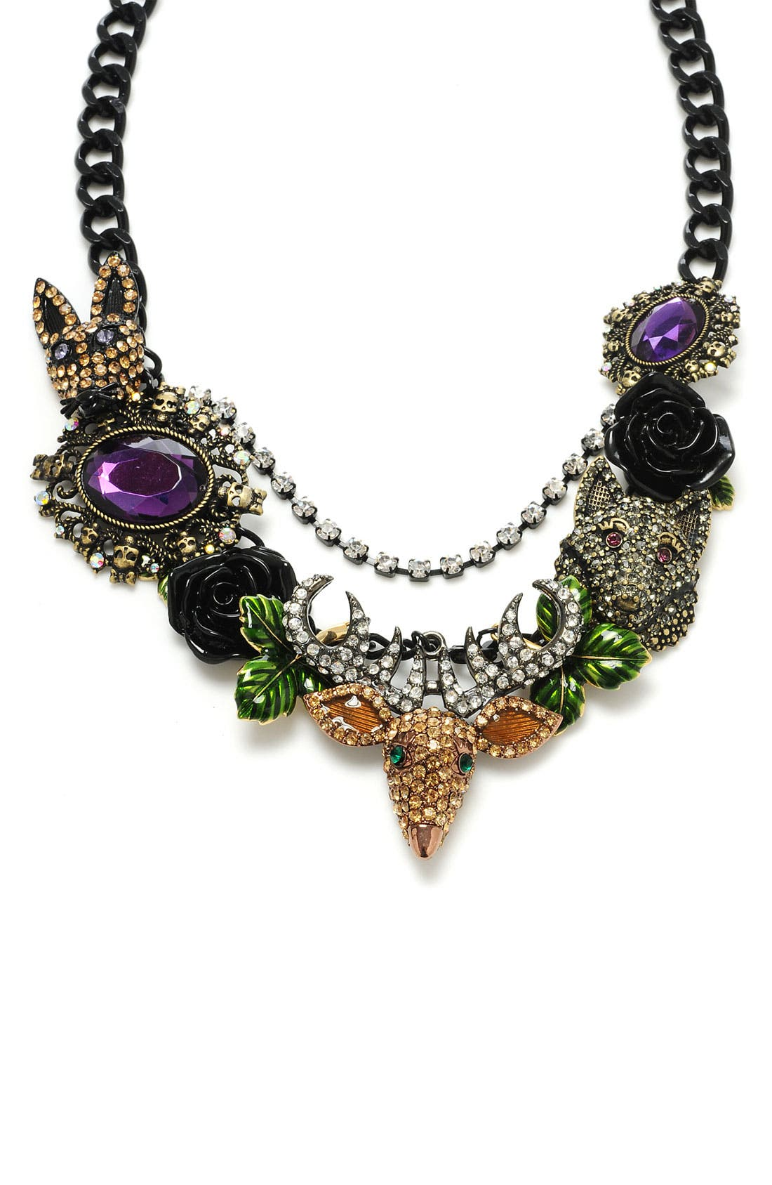Main Image - Betsey Johnson 'Dark Forest' Animal Charm Necklace