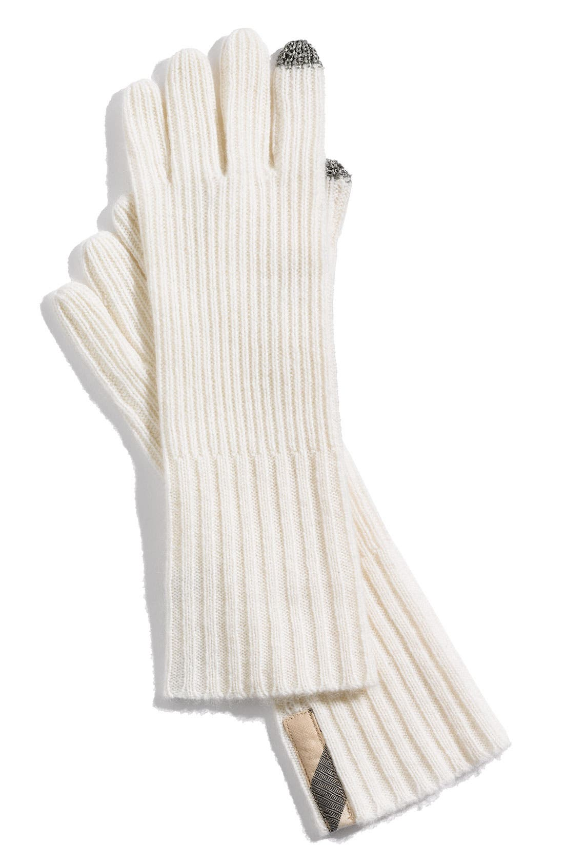 Main Image - Burberry Ribbed Cashmere Gloves