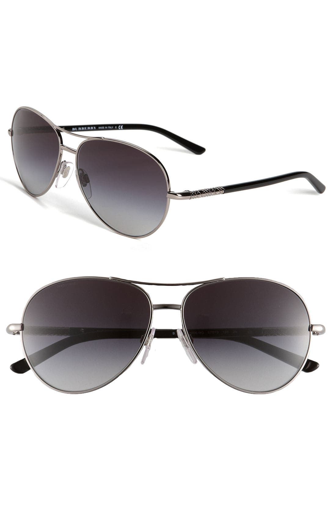 Metal Aviator Sunglasses,                         Main,                         color, Black