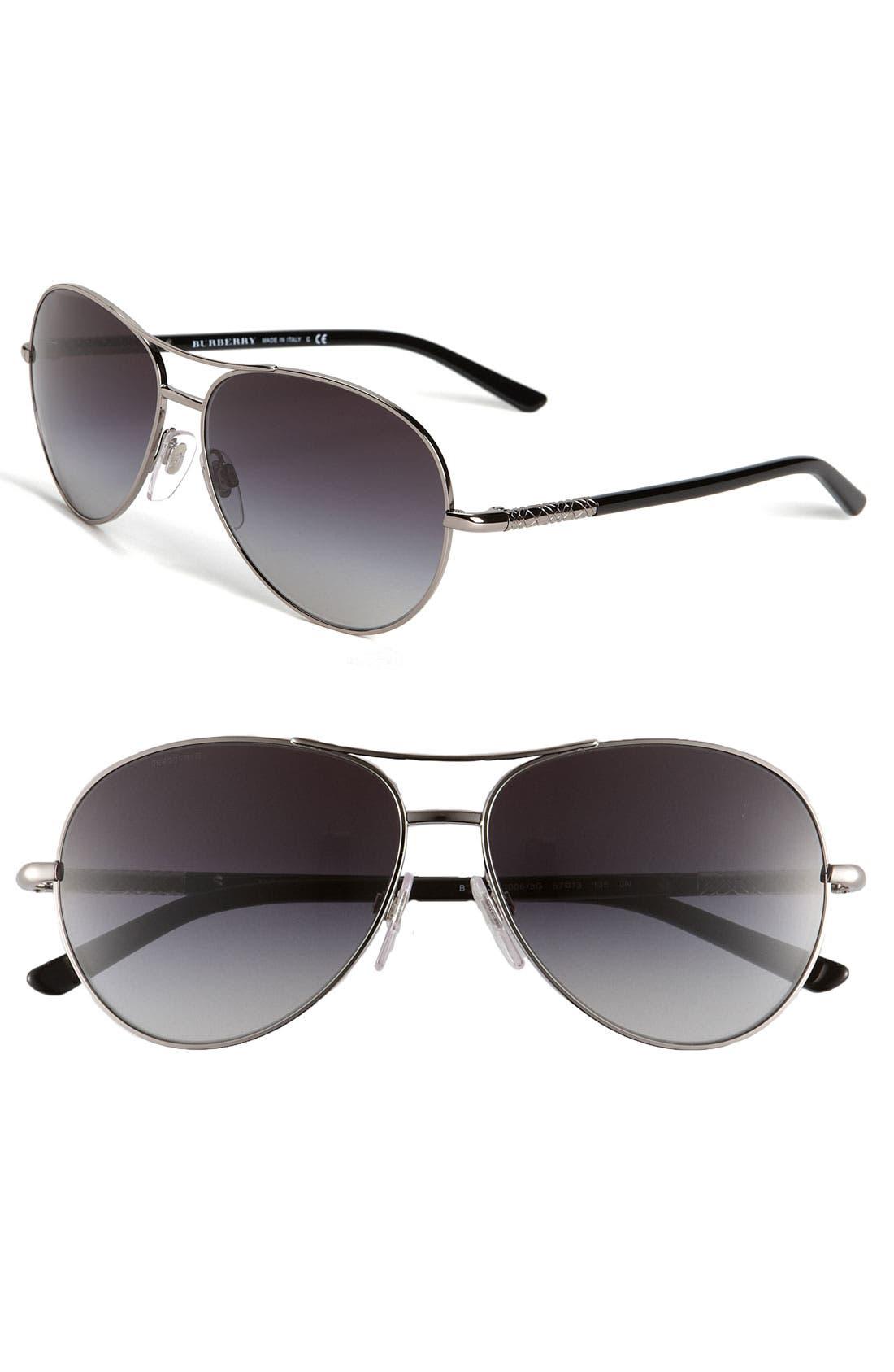 Metal Aviator Sunglasses,                         Main,                         color, Black