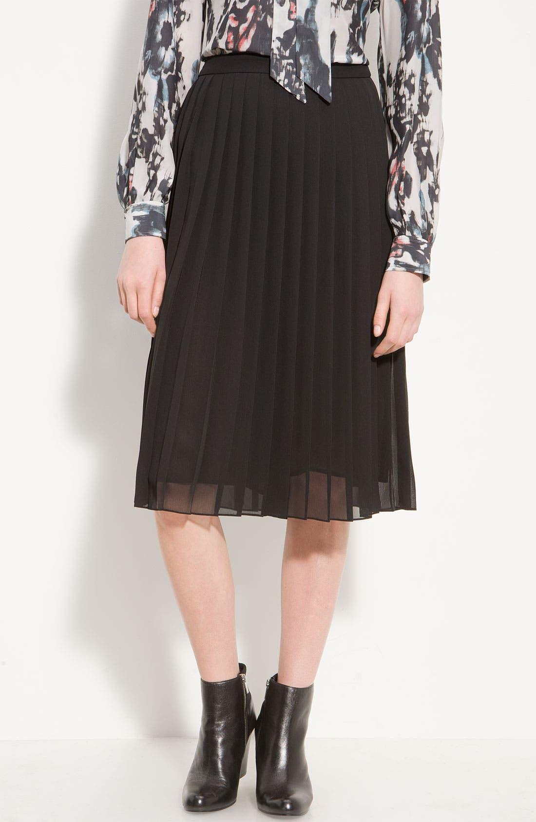 Long Pleated Skirt,                         Main,                         color, Black