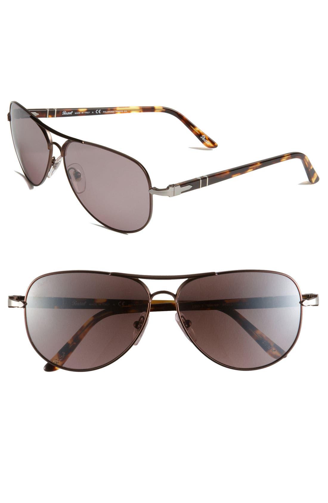Alternate Image 1 Selected - Persol Metal Aviator Sunglasses
