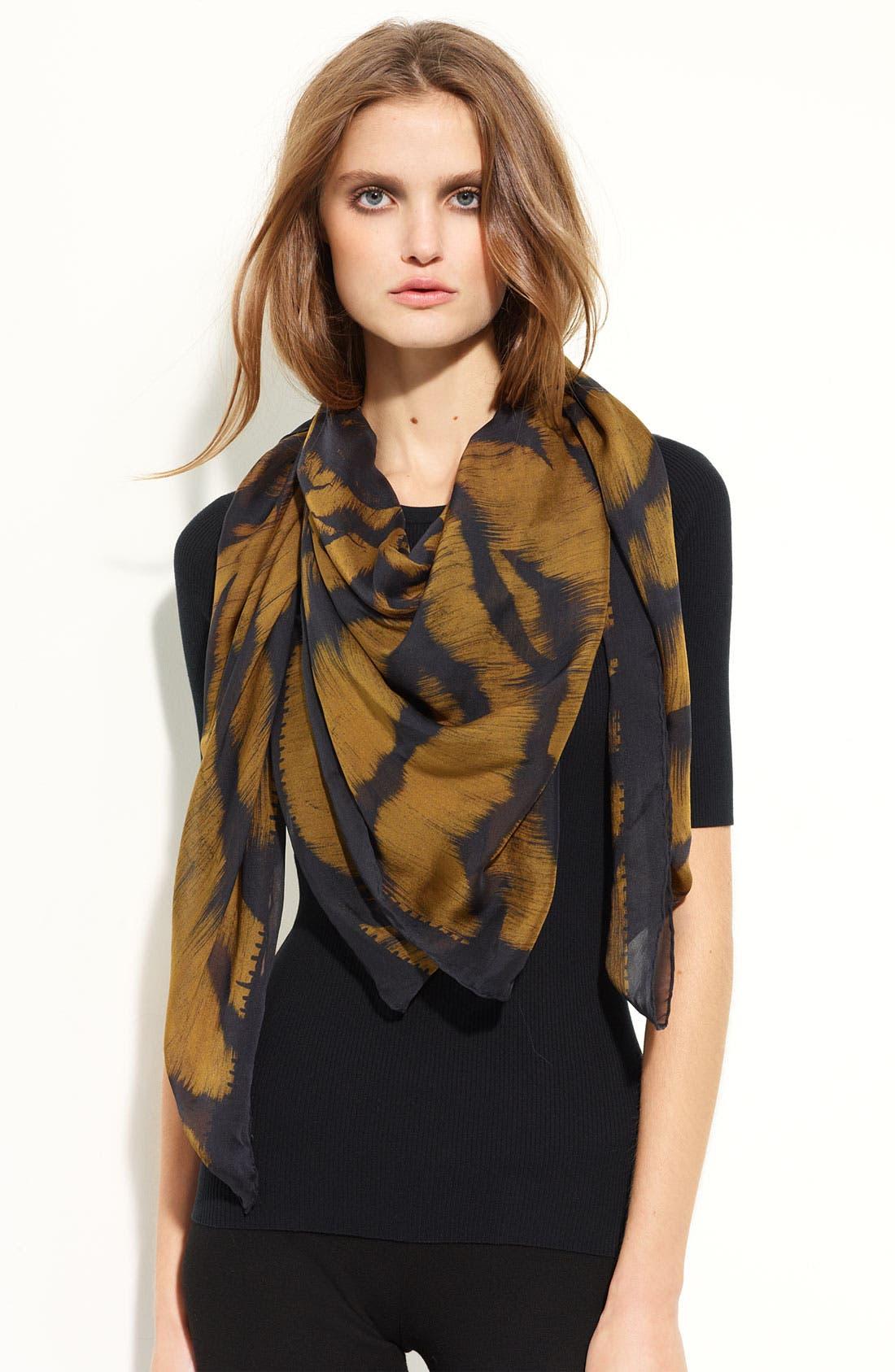 'Siamese Tiger Skull' Silk Chiffon Scarf,                         Main,                         color, Gold/Black
