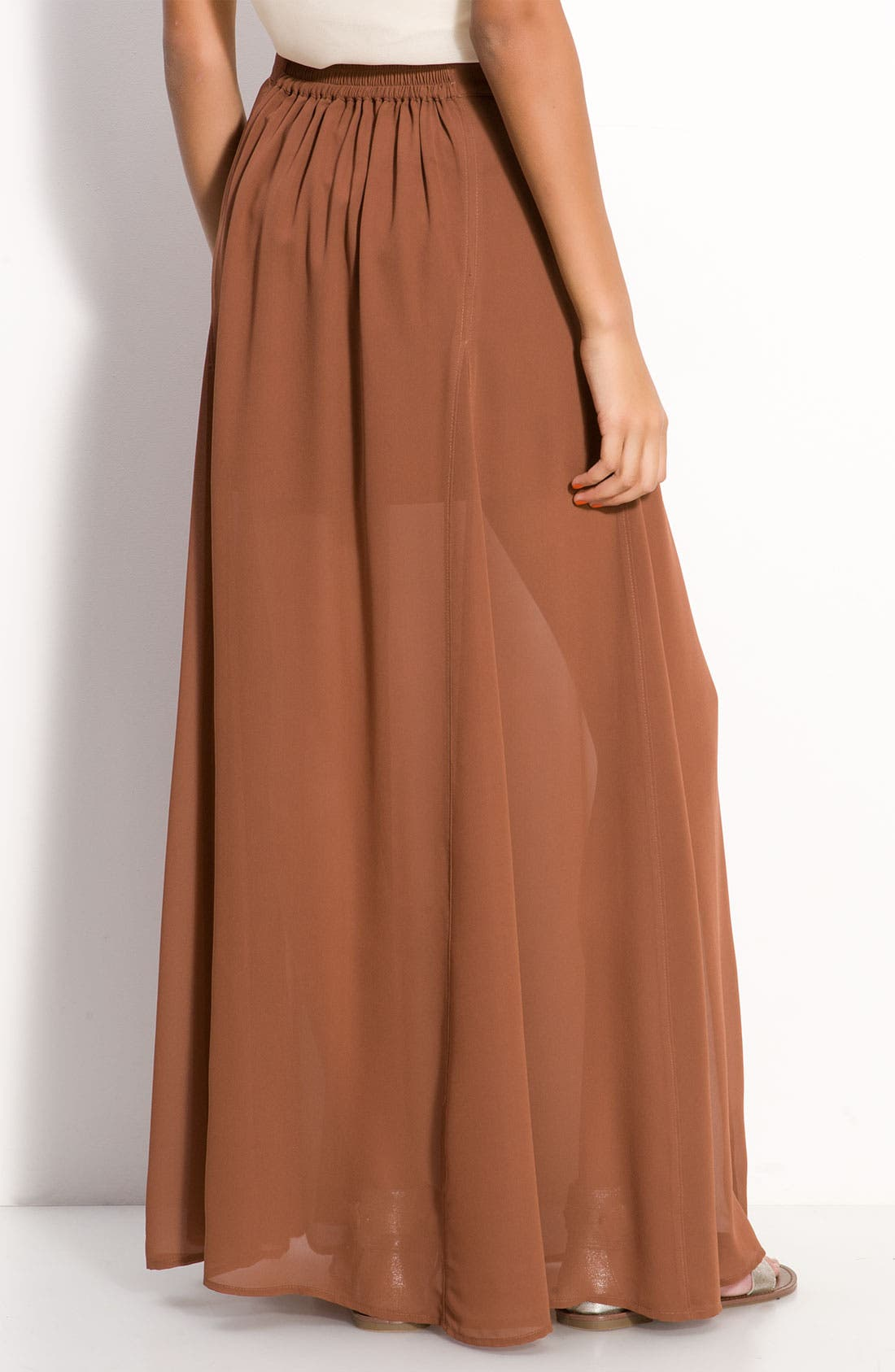 Alternate Image 2  - Frenchi® Half Sheer Chiffon Maxi Skirt (Juniors)