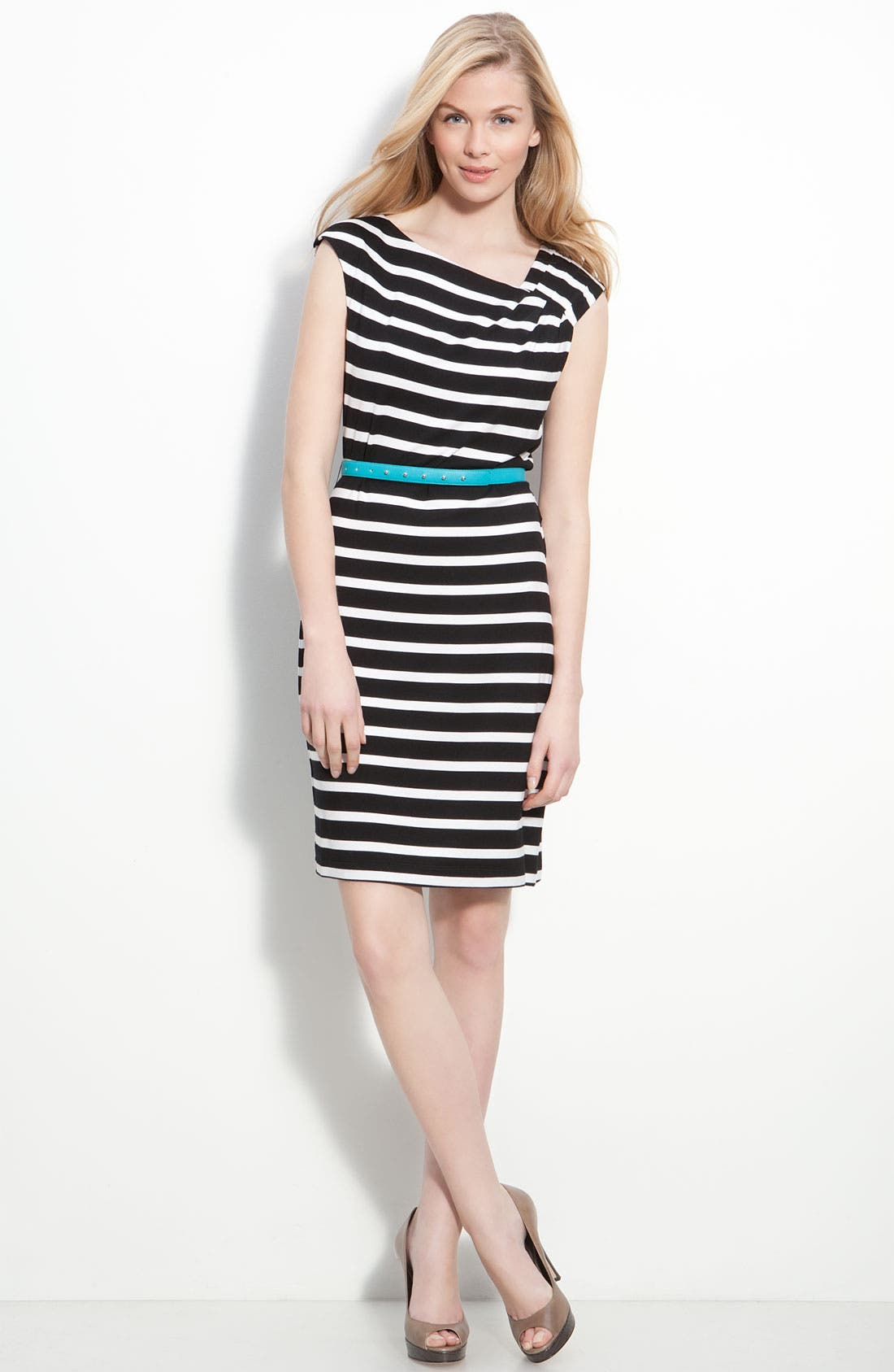 Alternate Image 3  - Calvin Klein Belted Cap Sleeve Jersey Sheath Dress