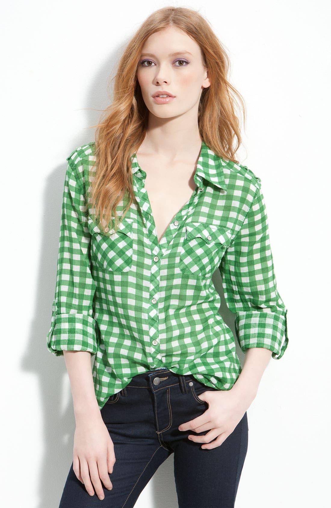 Gingham Check Western Pocket Shirt,                         Main,                         color, Green Gingham