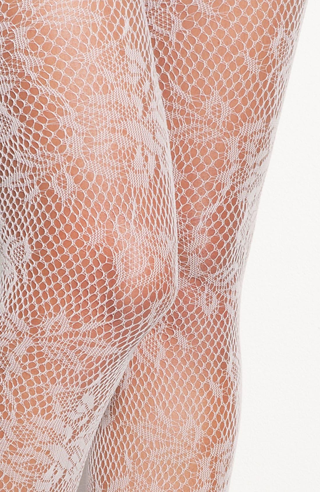 Alternate Image 2  - Hue 'Rose Floral' Fishnet Stockings (2 for $22)