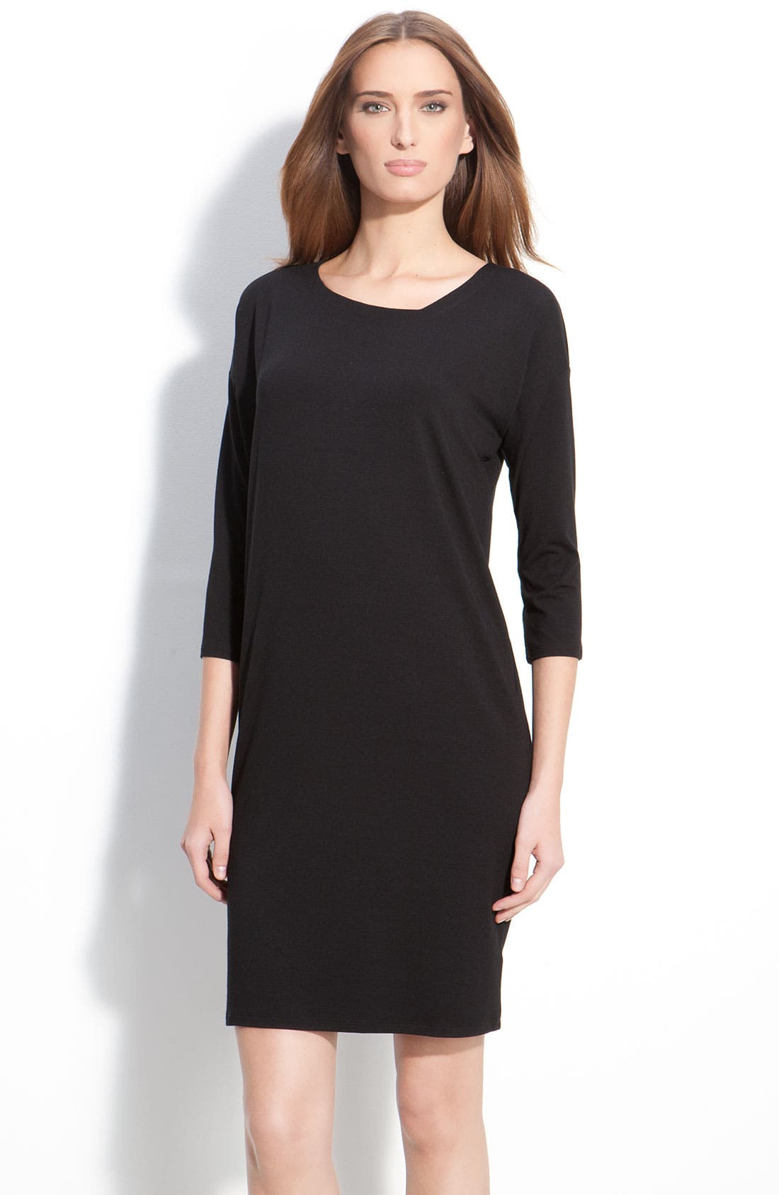 Alternate Image 1 Selected - Eileen Fisher Asymmetrical Neck Dress (Petite)