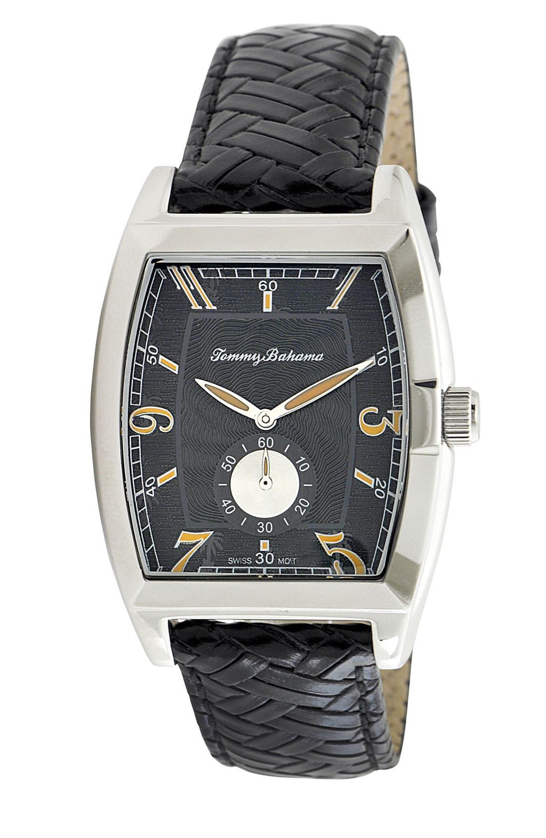 Main Image - Tommy Bahama 'Islander' Braided Leather Strap Watch, 36mm x 50mm