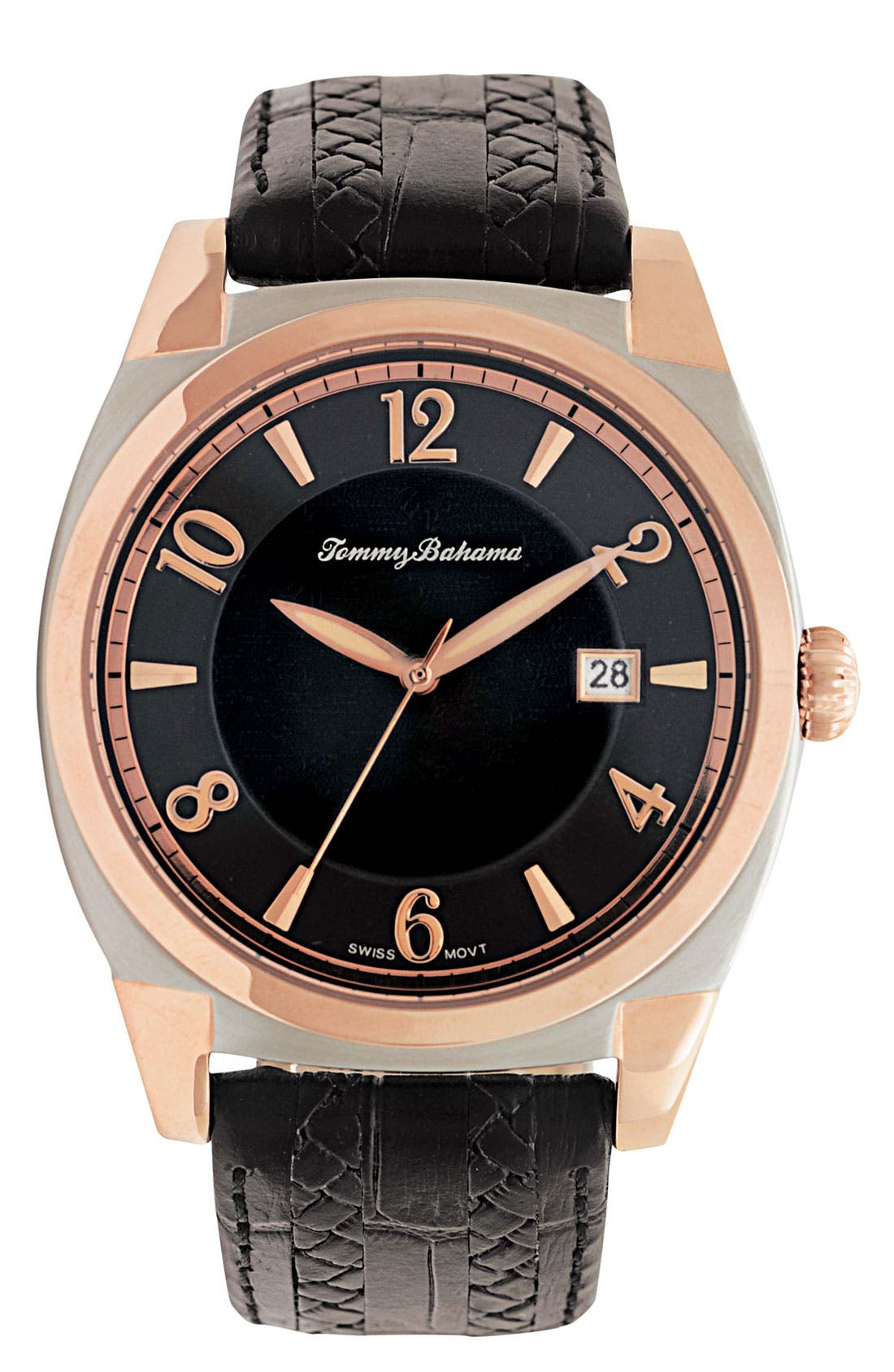 Main Image - Tommy Bahama 'Cubanito' Round Leather Strap Watch, 41mm x 51mm