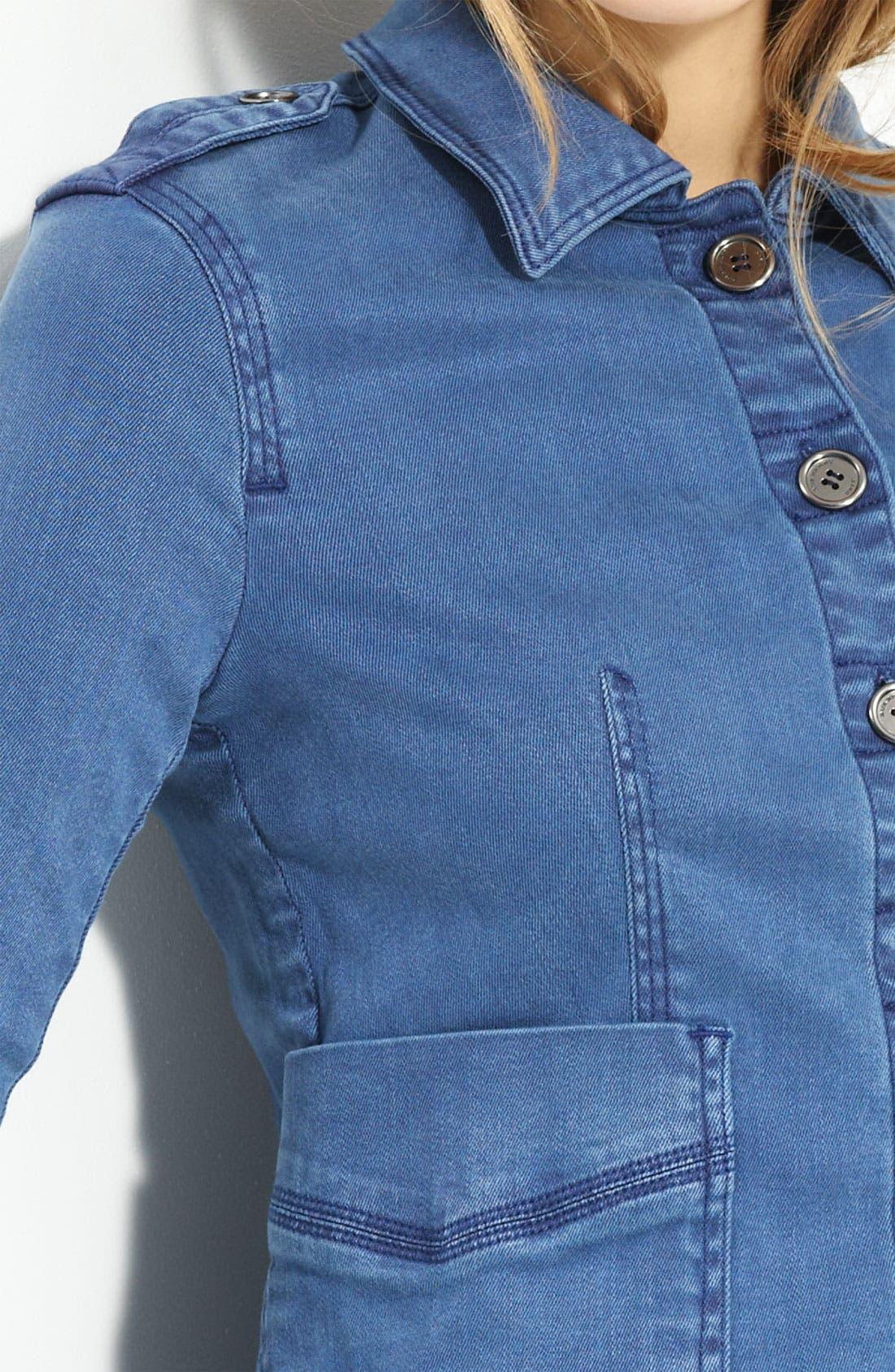 Denim Shirt Jacket,                             Alternate thumbnail 4, color,                             Vintage Lupine Blue
