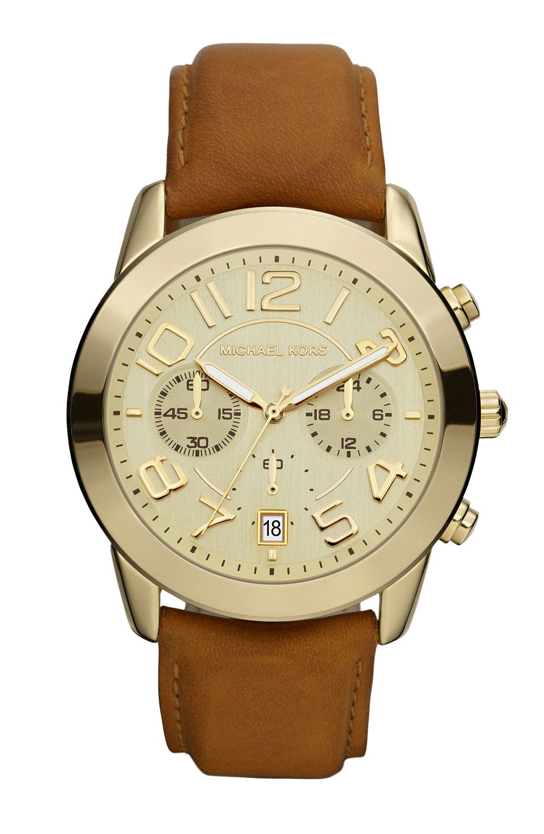 Michael Kors Chronograph Leather Strap Watch, 41mm,                         Main,                         color, Gold/ Brown