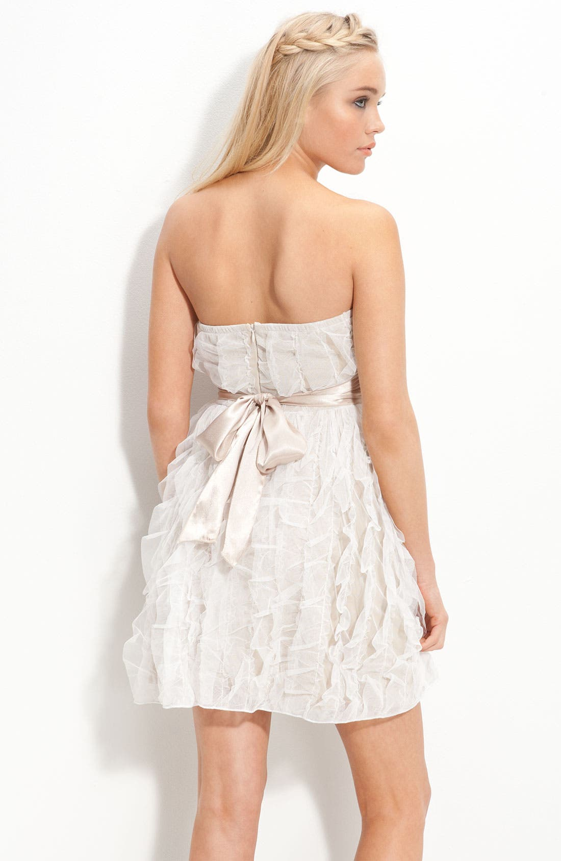 Alternate Image 2  - Jump Apparel Satin Sash Strapless Ruffle Dress (Juniors)