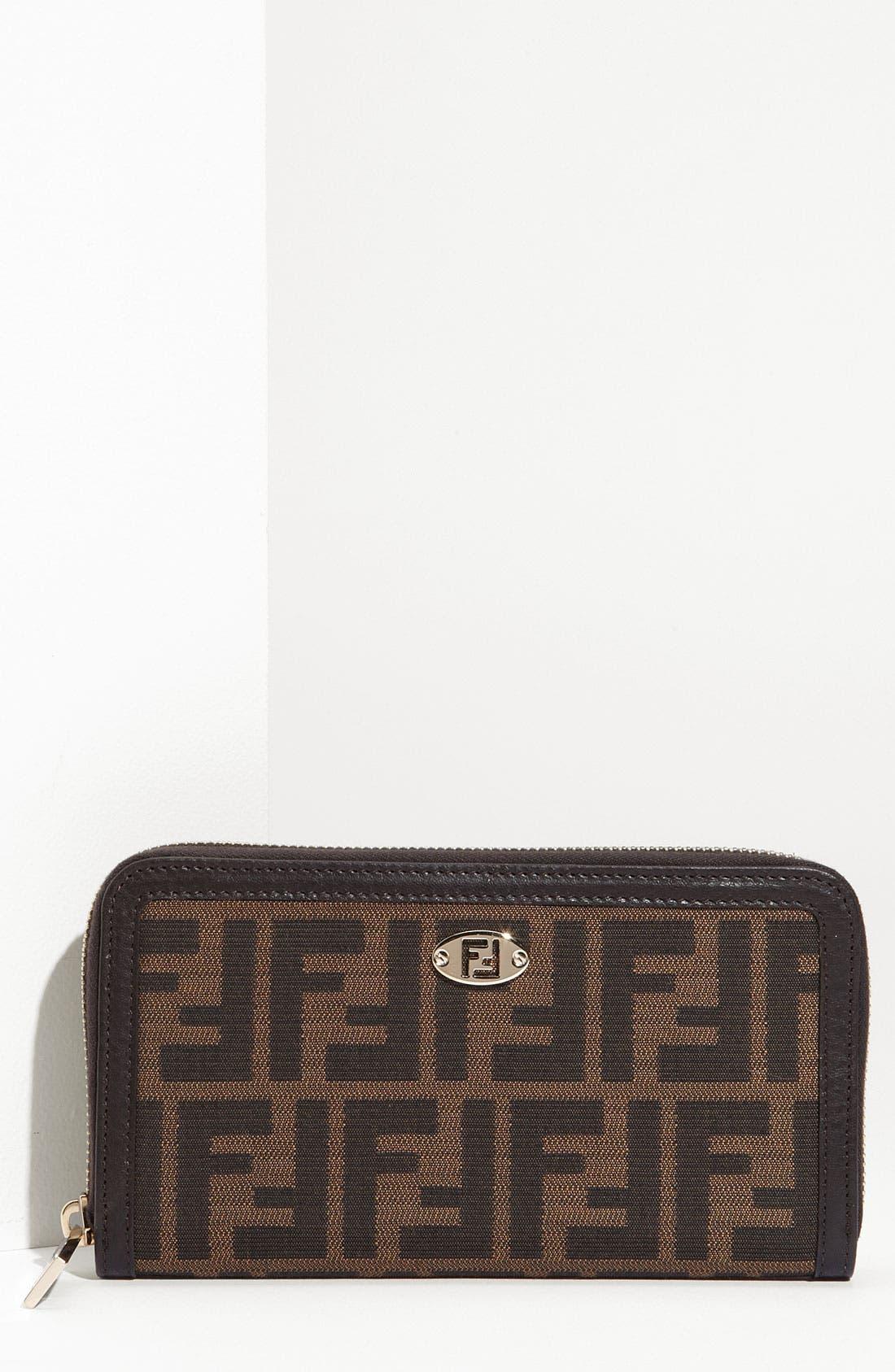 'Zucca' Zip Around Wallet,                         Main,                         color, Tobacco / Dark Brown