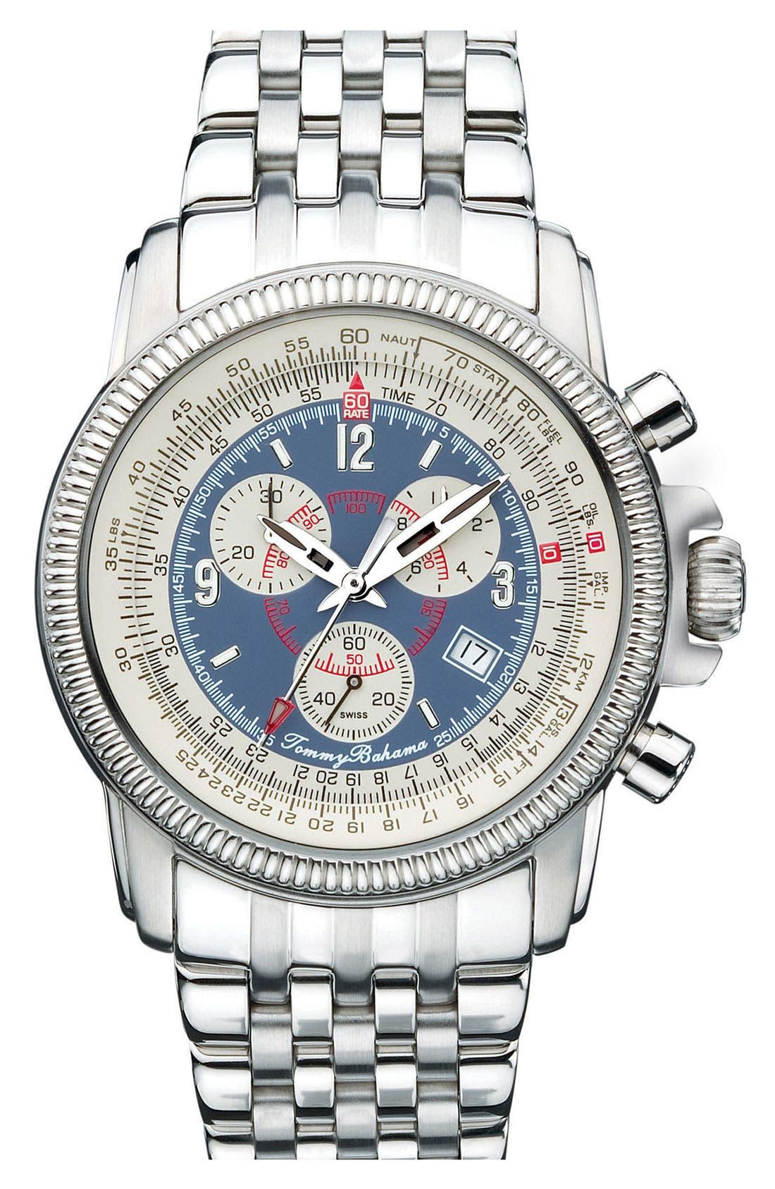 Main Image - Tommy Bahama 'Panama Pilot' Bracelet Watch, 43mm