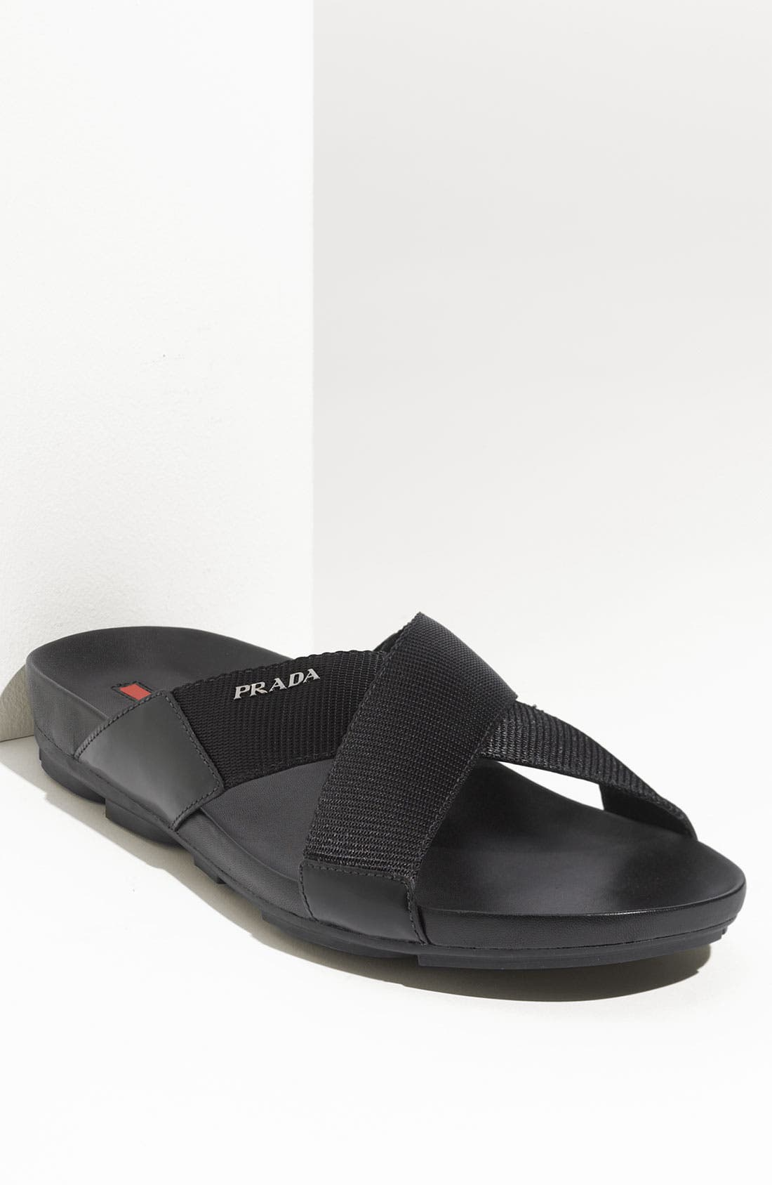 Alternate Image 1 Selected - Prada Cross Strap Nylon Slide
