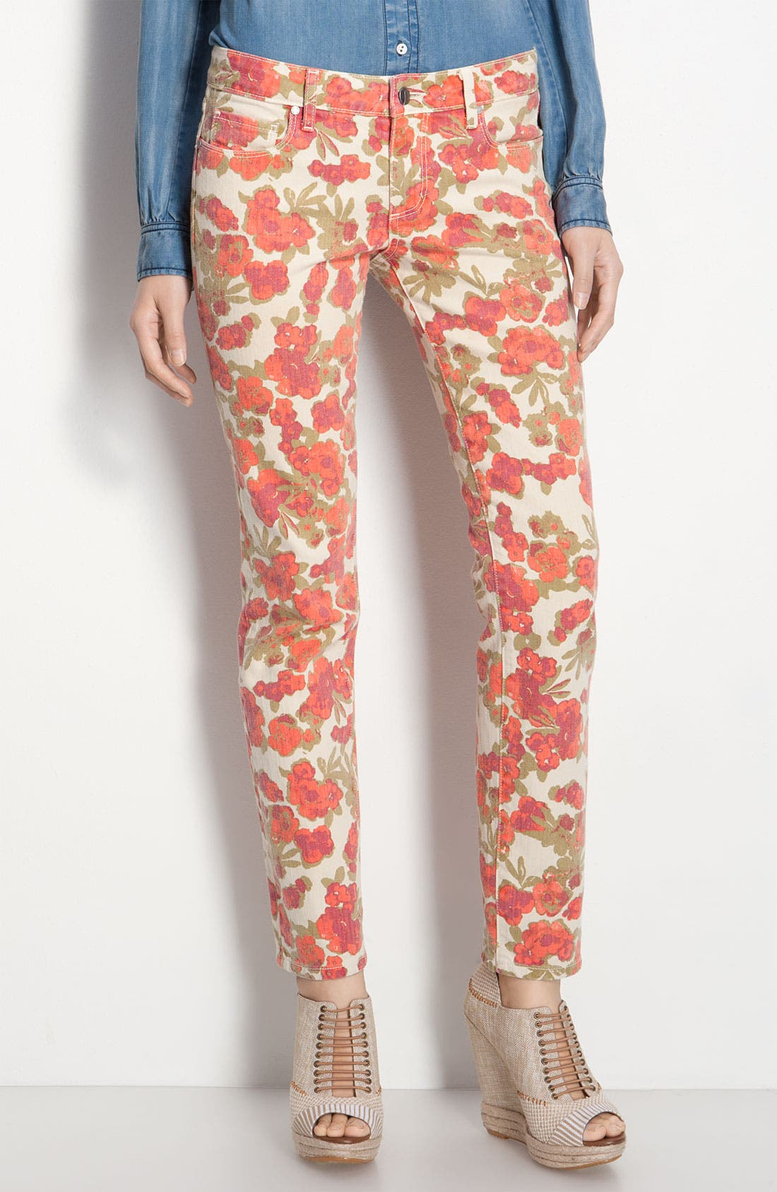 Alternate Image 3  - Paige Denim 'Skyline' Floral Skinny Ankle Jeans (Chello Ivory Print)