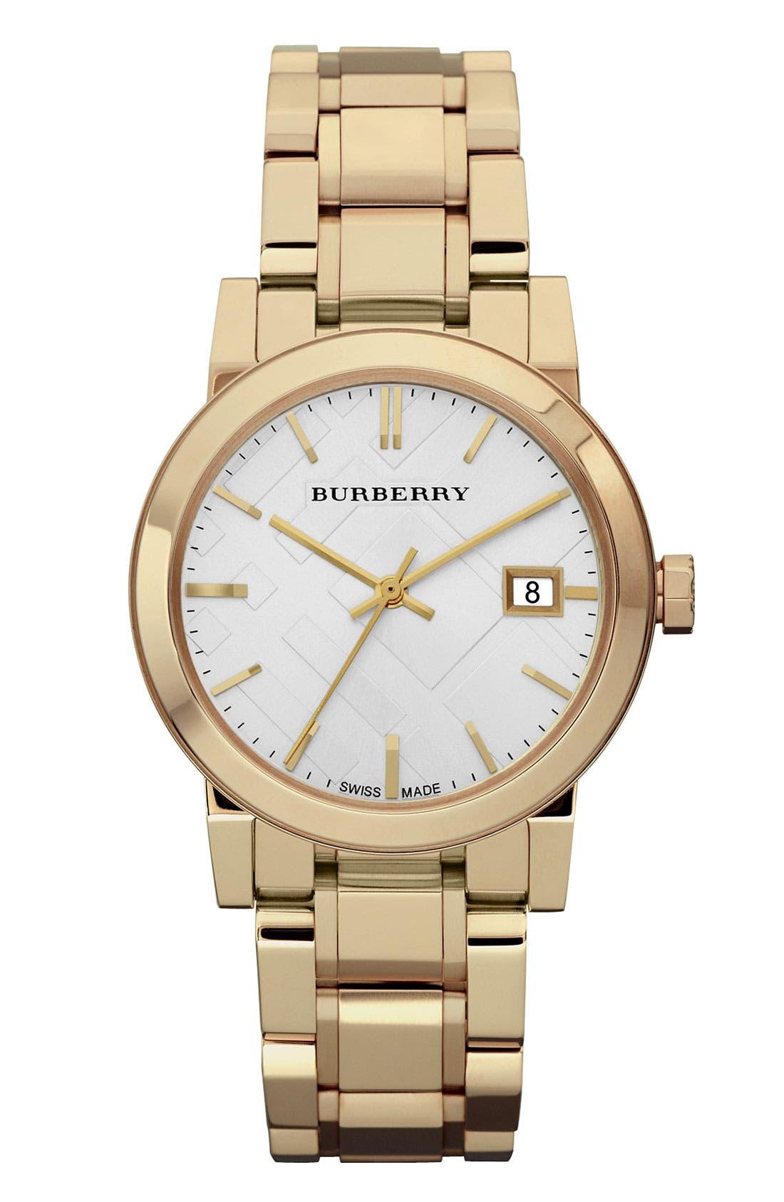 Main Image - Burberry Medium Check Stamped Bracelet Watch, 34mm