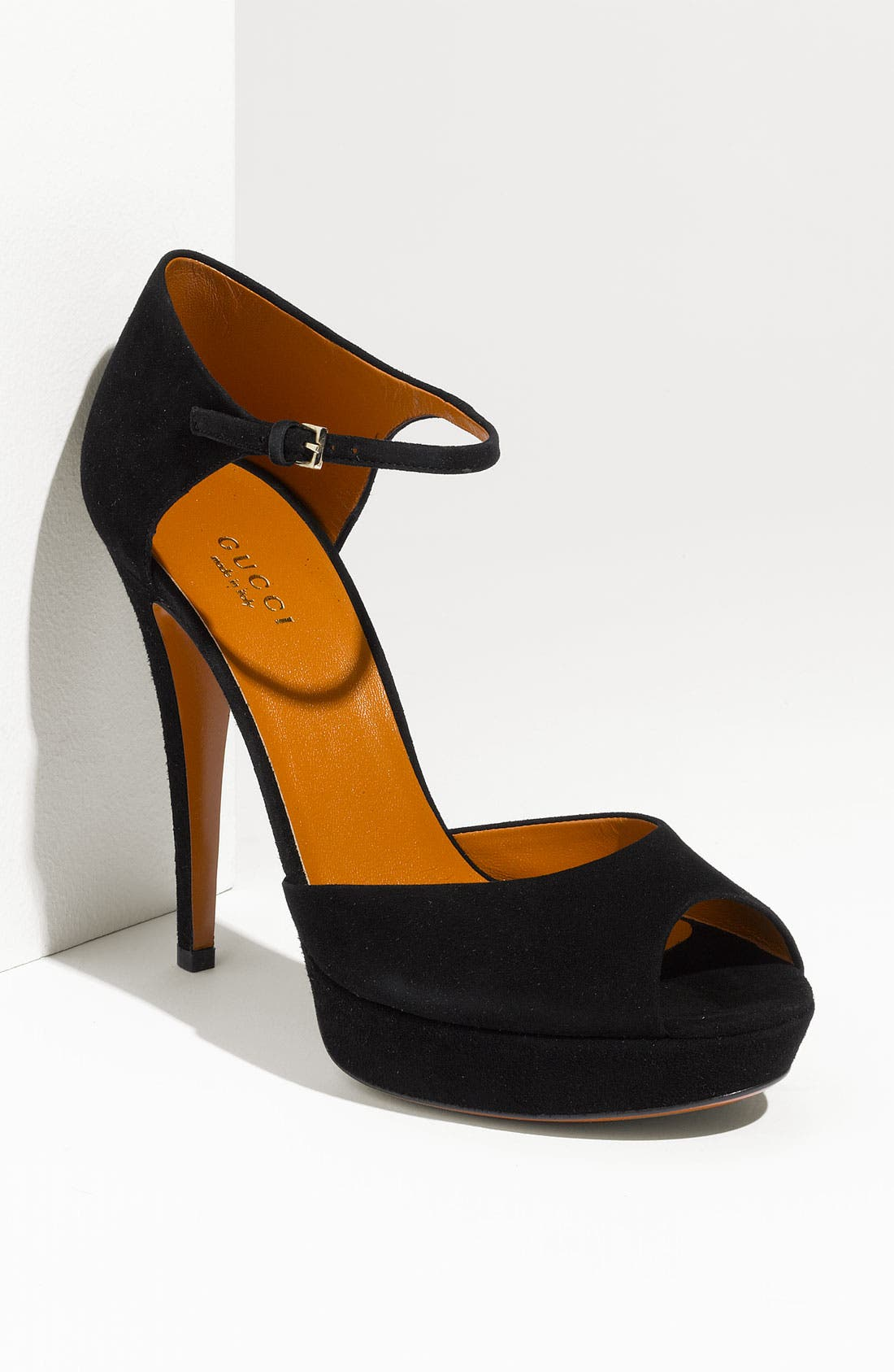 Alternate Image 1 Selected - Gucci Ankle Strap Peep Toe Pump