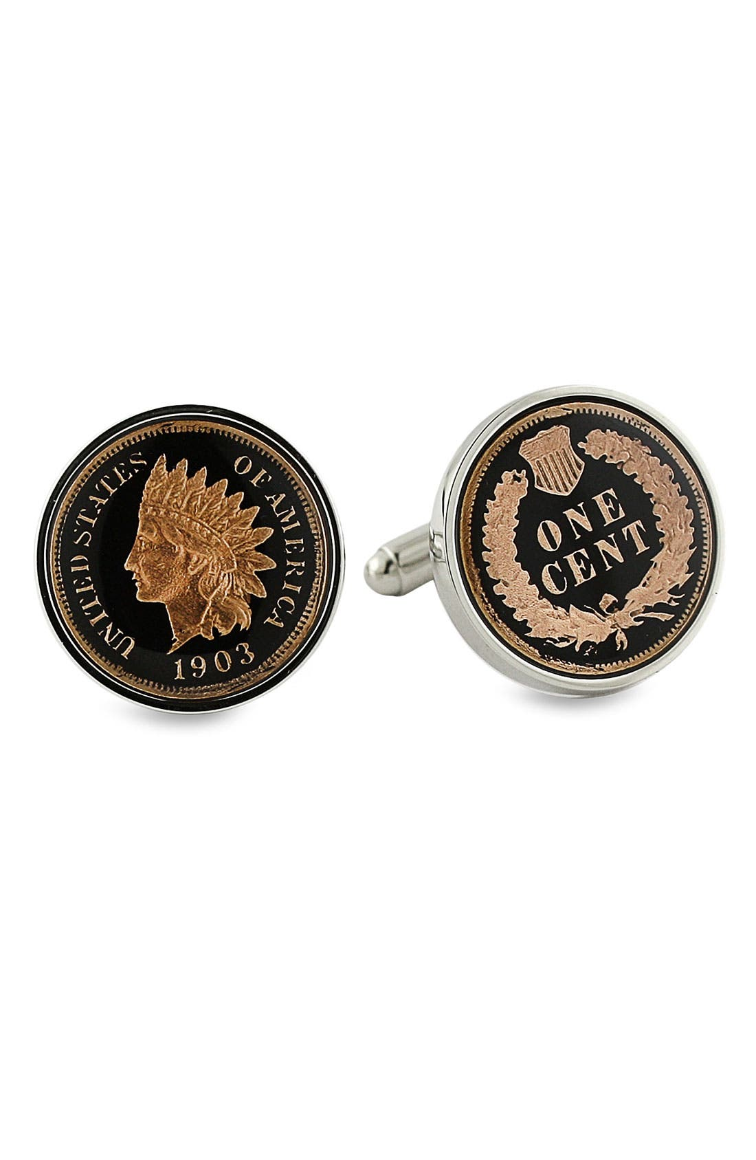 'Collector Coin' Cuff Links,                             Main thumbnail 1, color,                             Indian Head