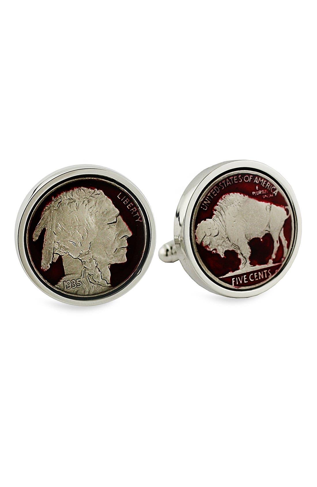 'Buffalo Nickel' Cuff Links,                         Main,                         color, Buffalo Nickel