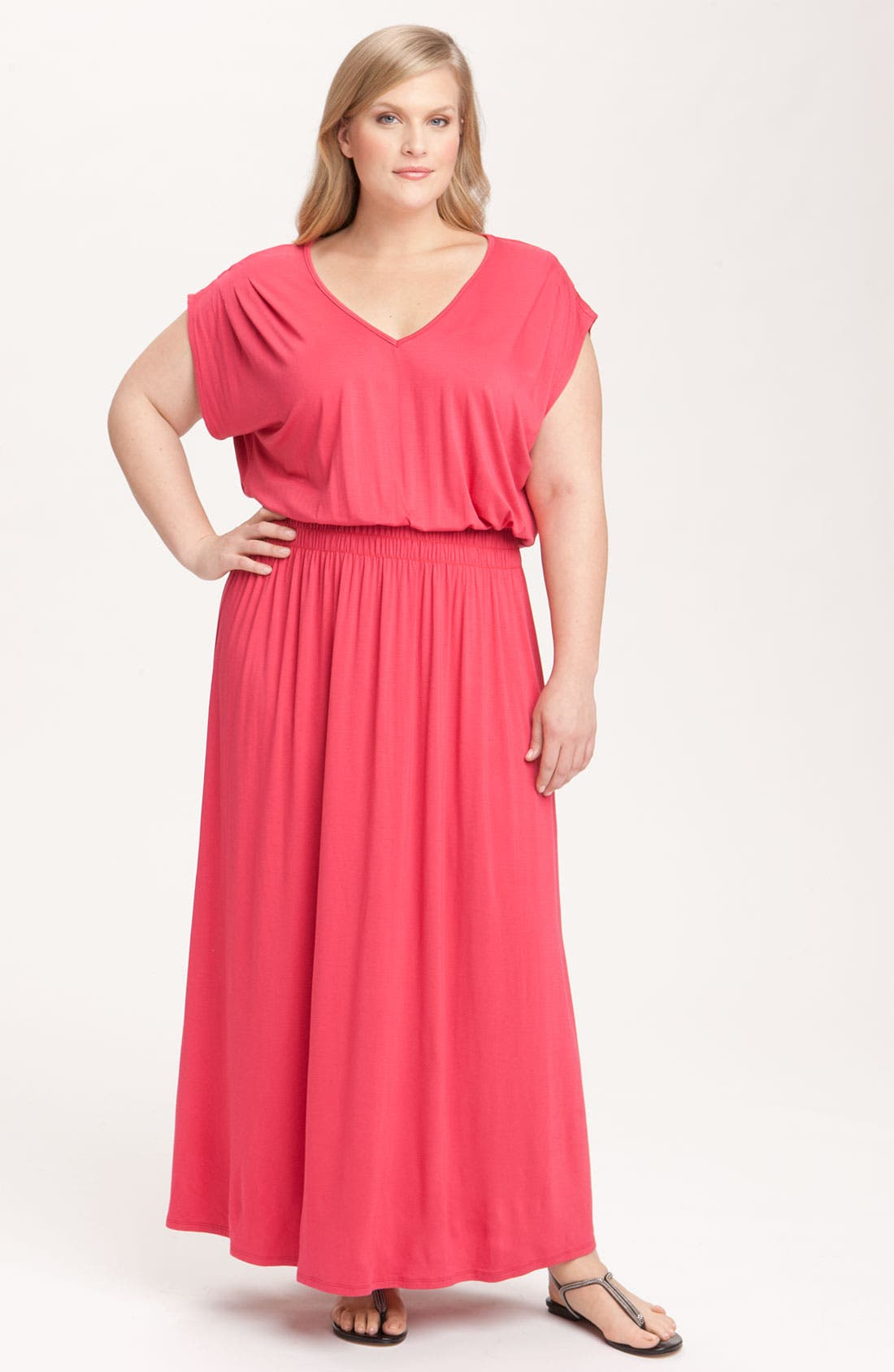 Alternate Image 1 Selected - Olivia Moon V-Neck Knit Maxi Dress (Plus)