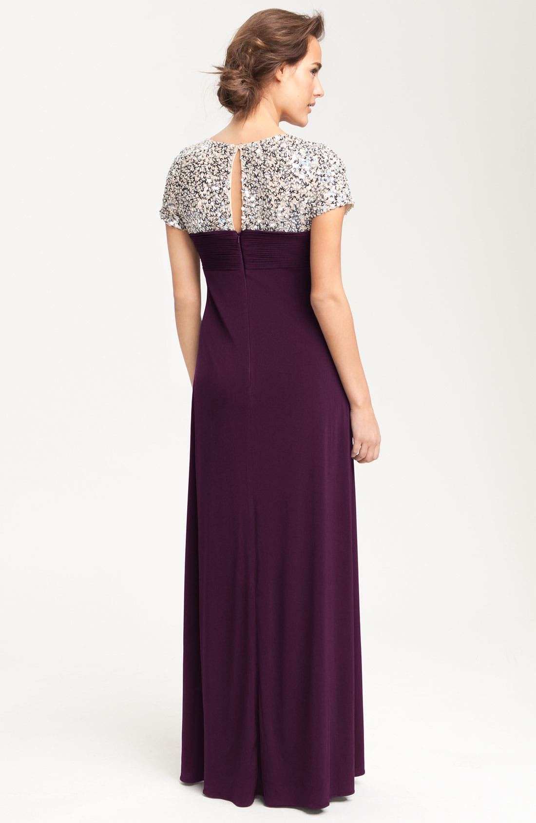 Alternate Image 2  - JS Boutique Sequin Trim Jersey Gown