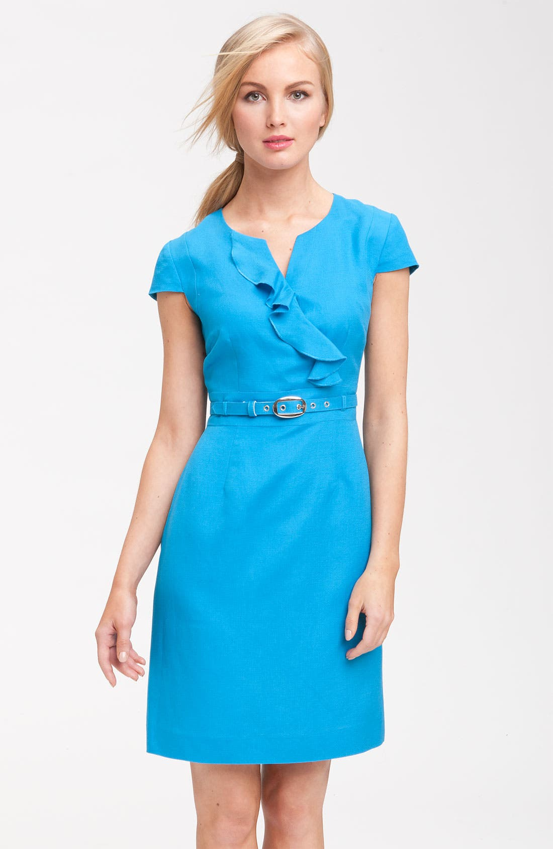 Main Image - Tahari by Arthur S. Levine 'Ronni' Belted Ruffle Sheath Dress