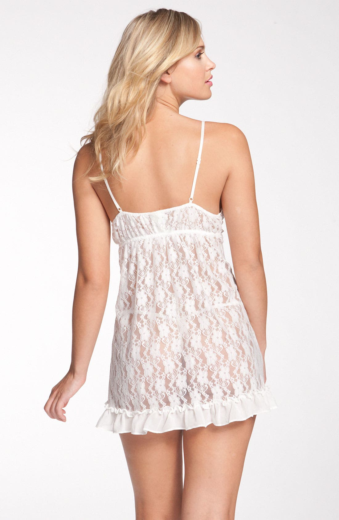 Alternate Image 2  - In Bloom by Jonquil 'Retro' Ruffle Lace Nightie & Thong