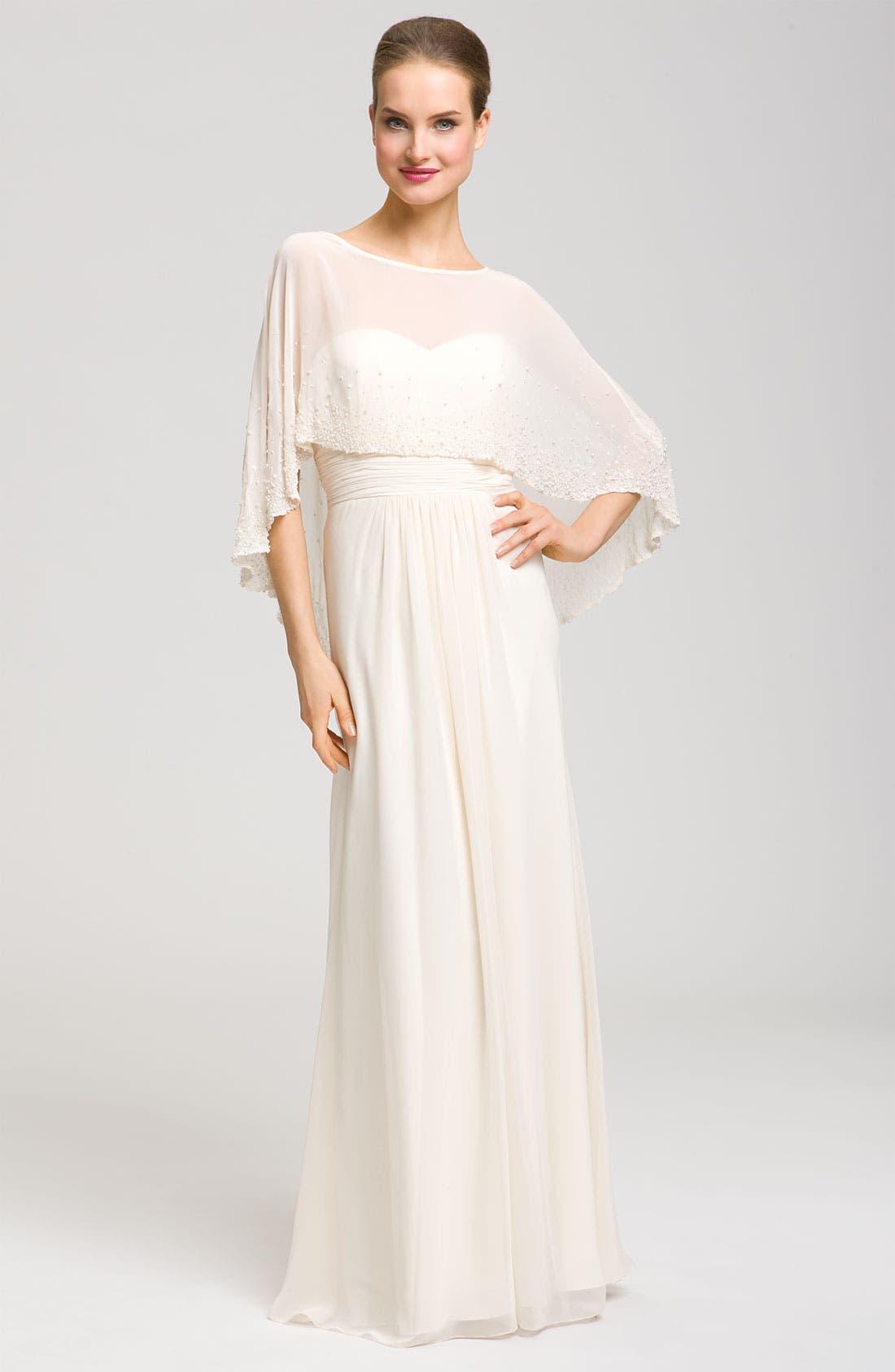 Alternate Image 1 Selected - Aidan Mattox Sweetheart Gown & Beaded Cape