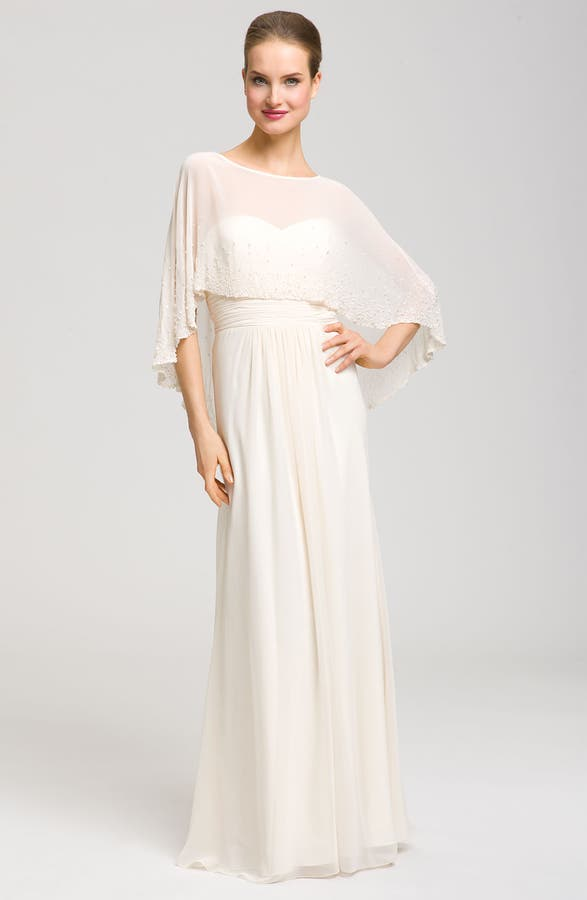 Aidan Mattox Sweetheart Gown & Beaded Cape | Nordstrom