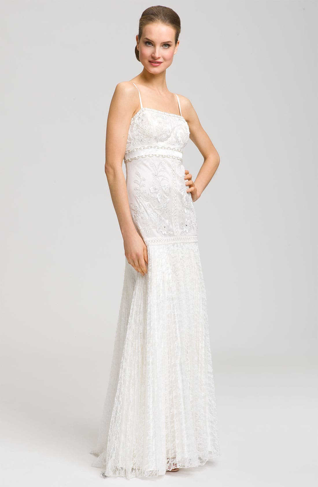 Main Image - Sue Wong Spaghetti Strap Embroidered Gown